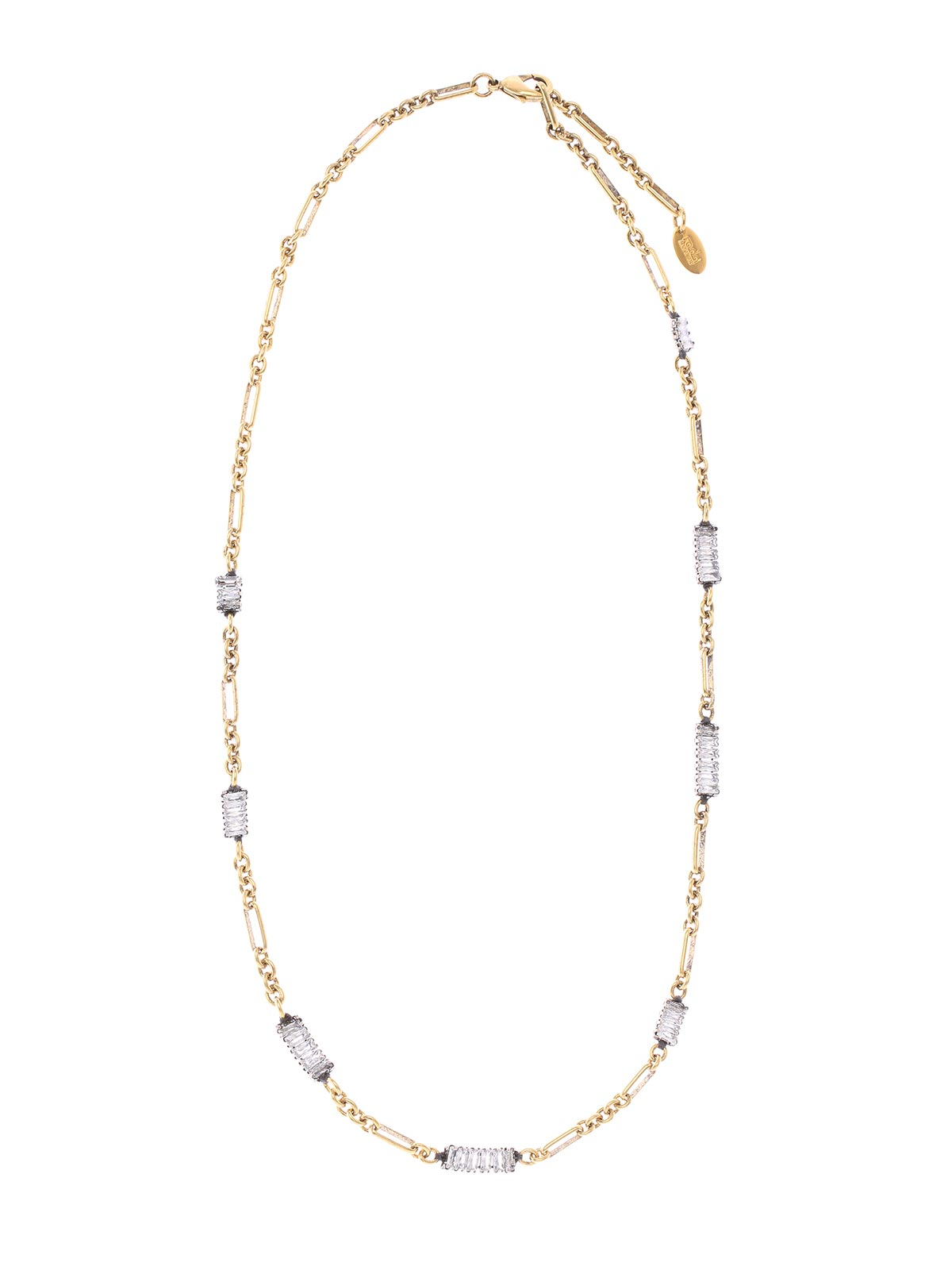 Brass chain necklace with crystals