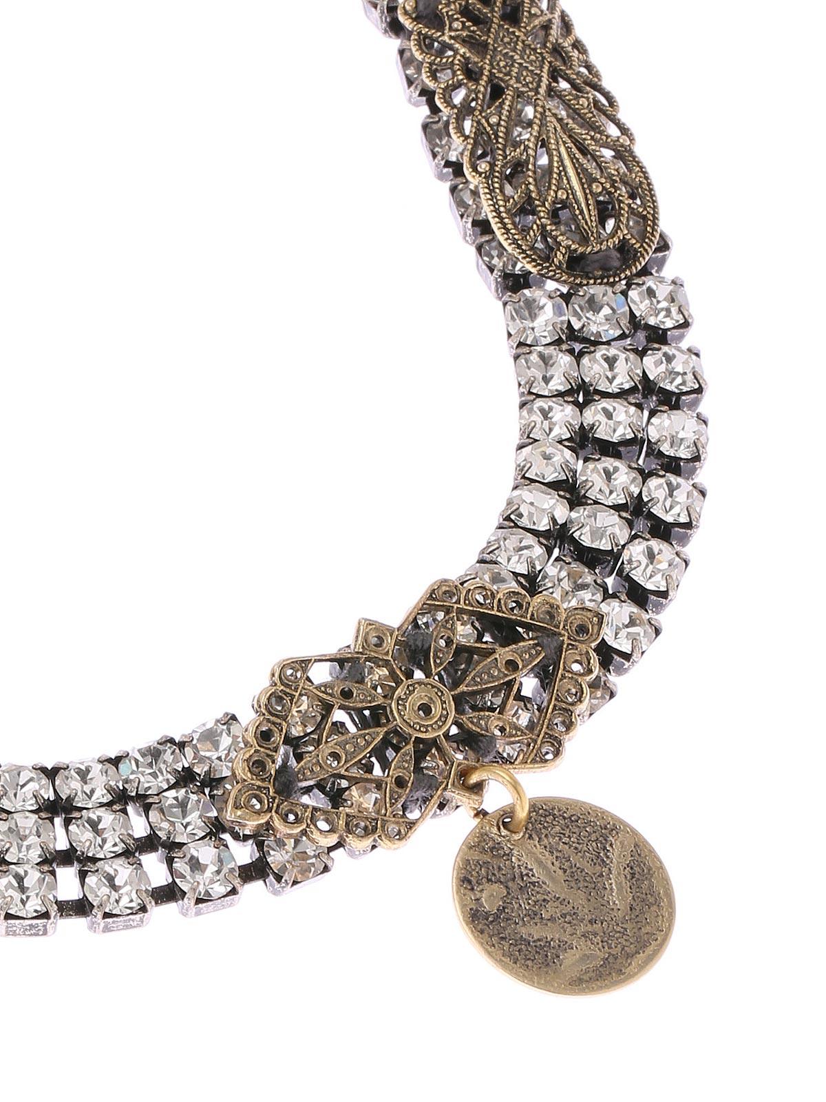 Collana di cristalli con decorazione in ottone