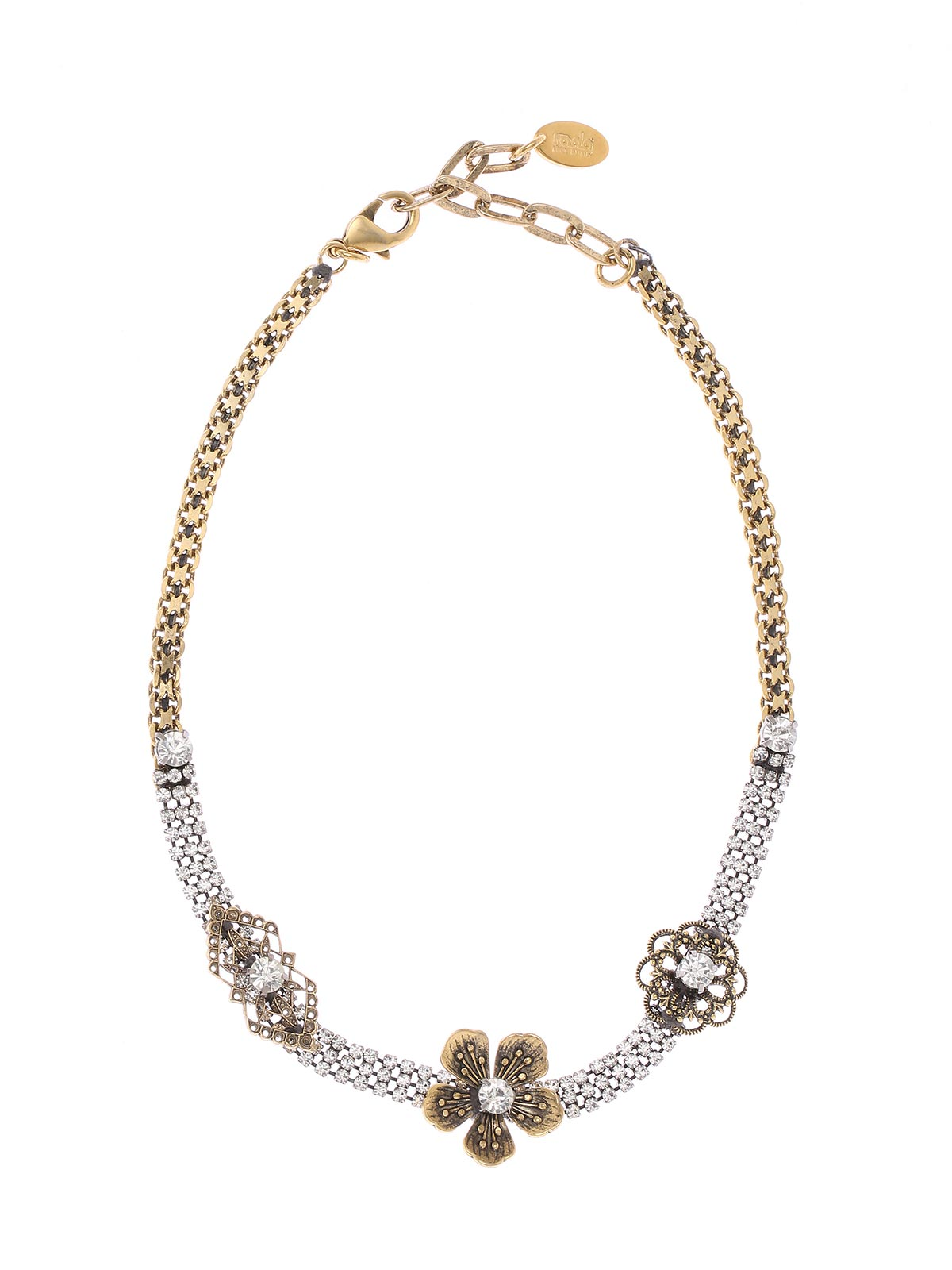 Brass and crystal necklace with floral decorations