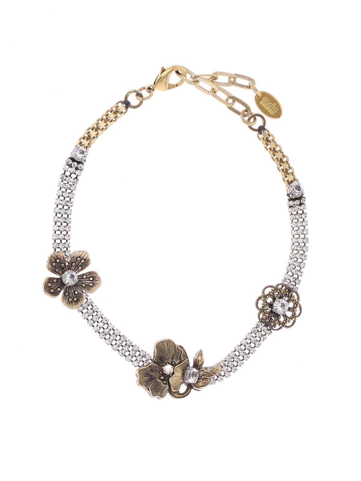 Collana in ottone e cristalli con decorazioni floreali