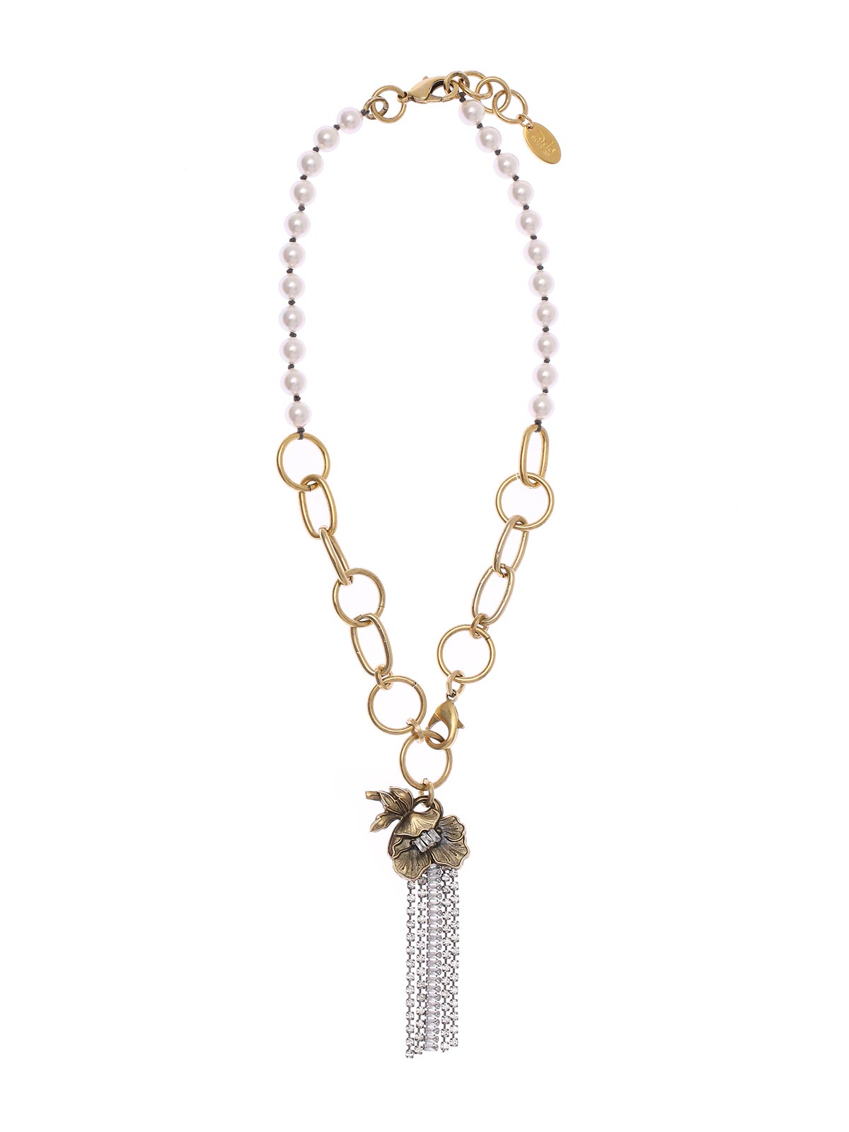 Mixed chain necklace with pearls and floral pendant