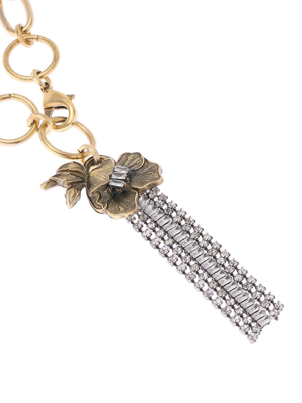 Collana Mix di catene e perle con pendente floreale e cristalli  a cascata