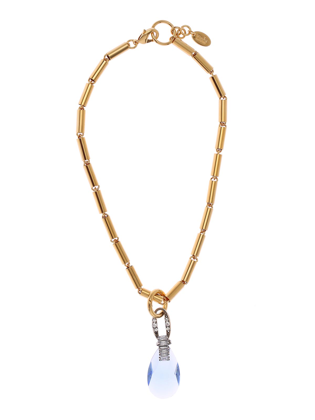 Brass necklace with metal tubes and jewel pendant