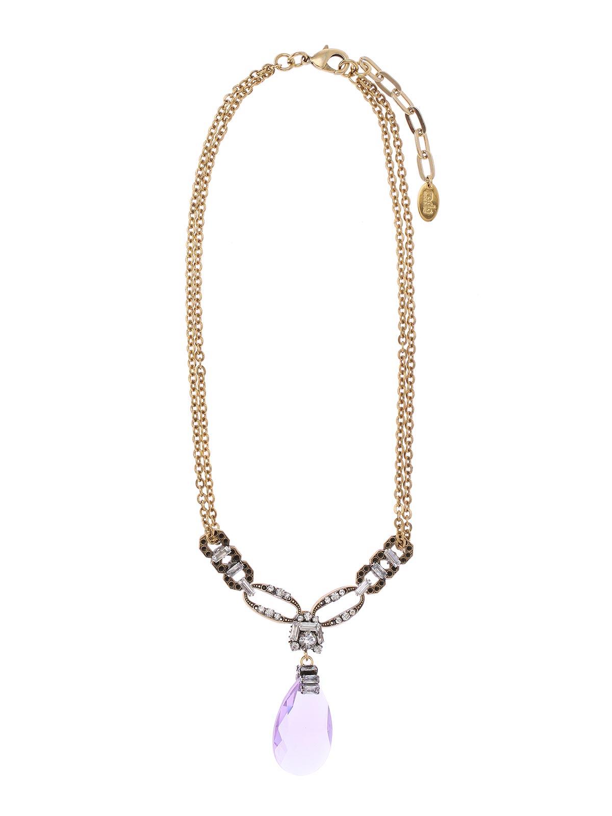 Collana in ottone con decorazione centrale di cristalli e pendente gioiello