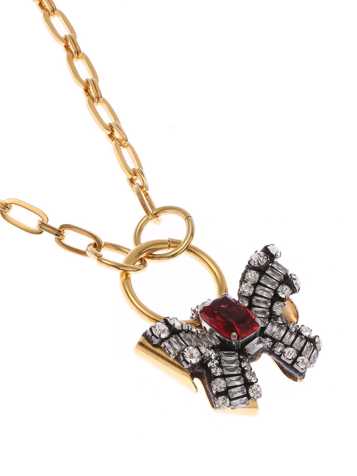Collana a catena con pendente fiocco di cristalli