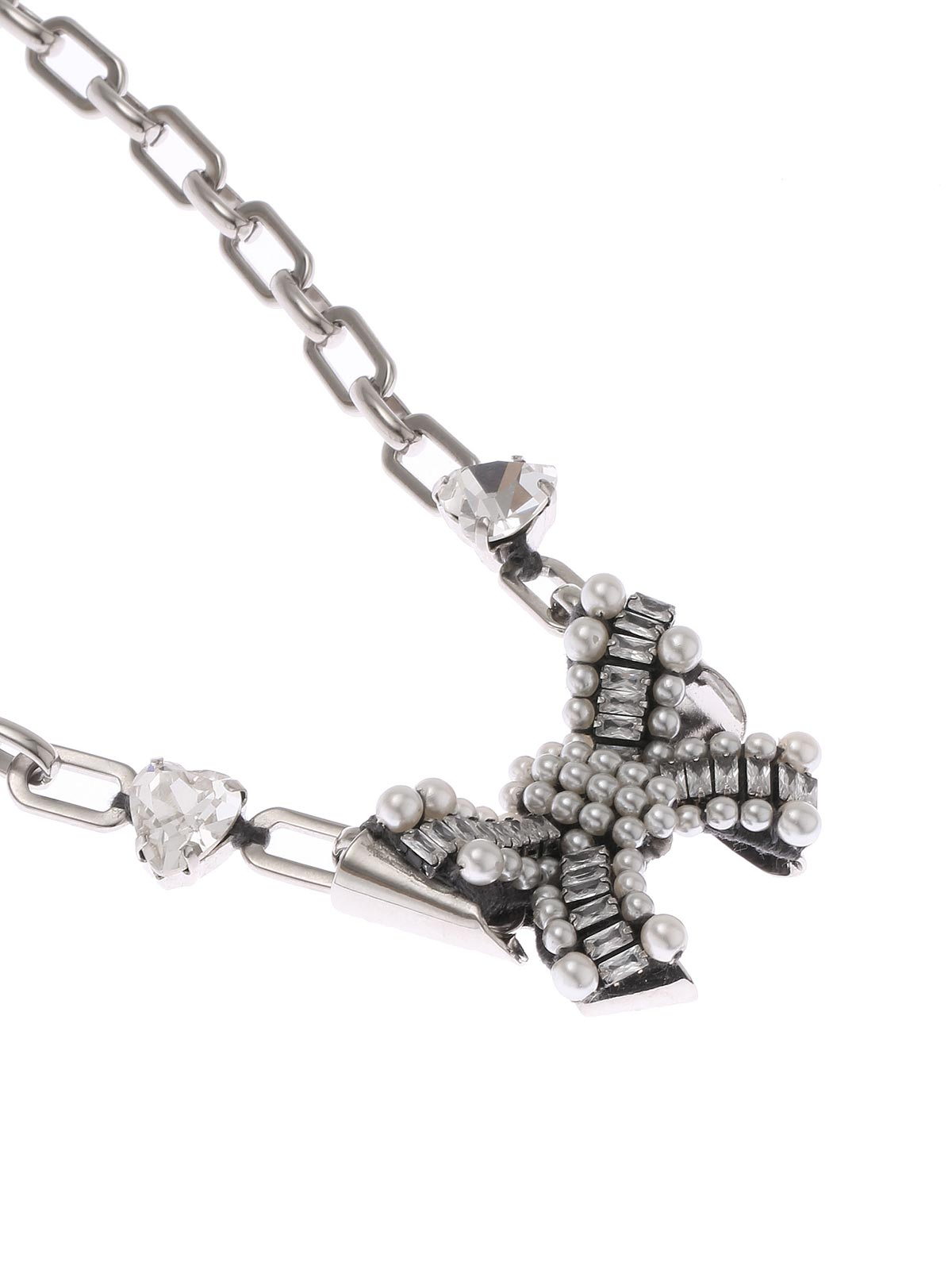 Chain necklace with crystal and beads bow pendant