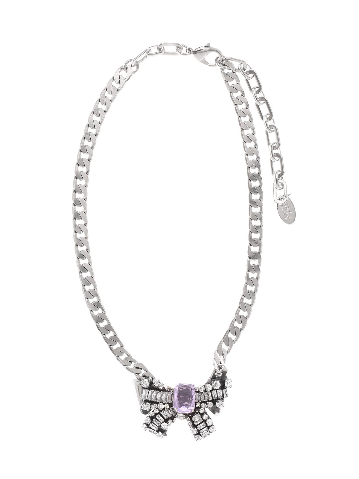 Chain necklace with crystal bow pendant