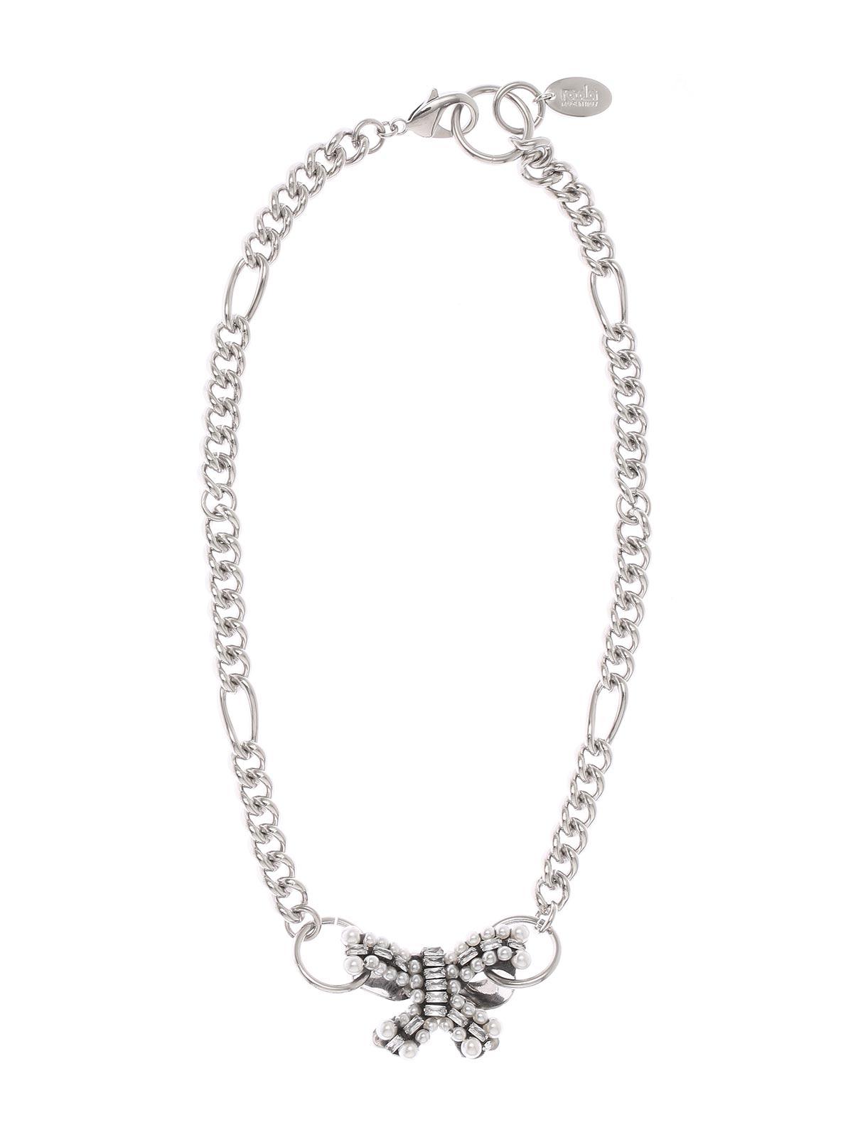 Collana a catena con pendente fiocco di cristalli e perline