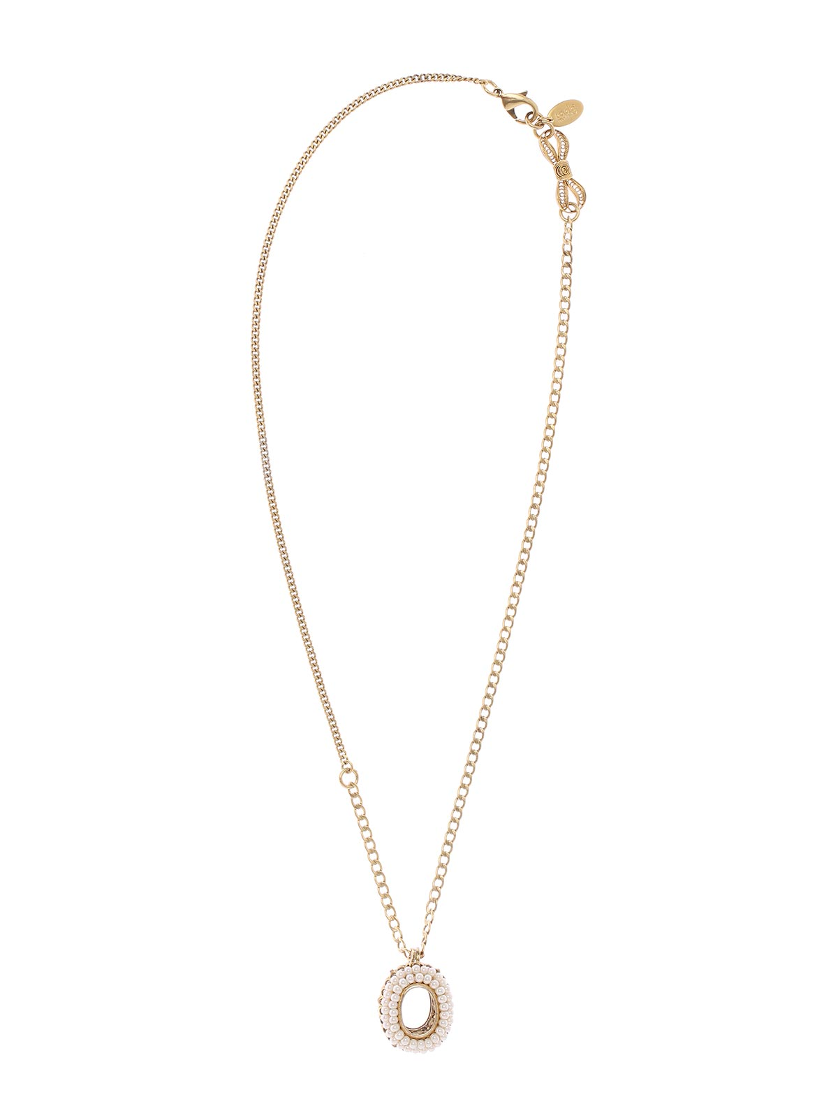 Chain necklace with oval charm embellished with pearls