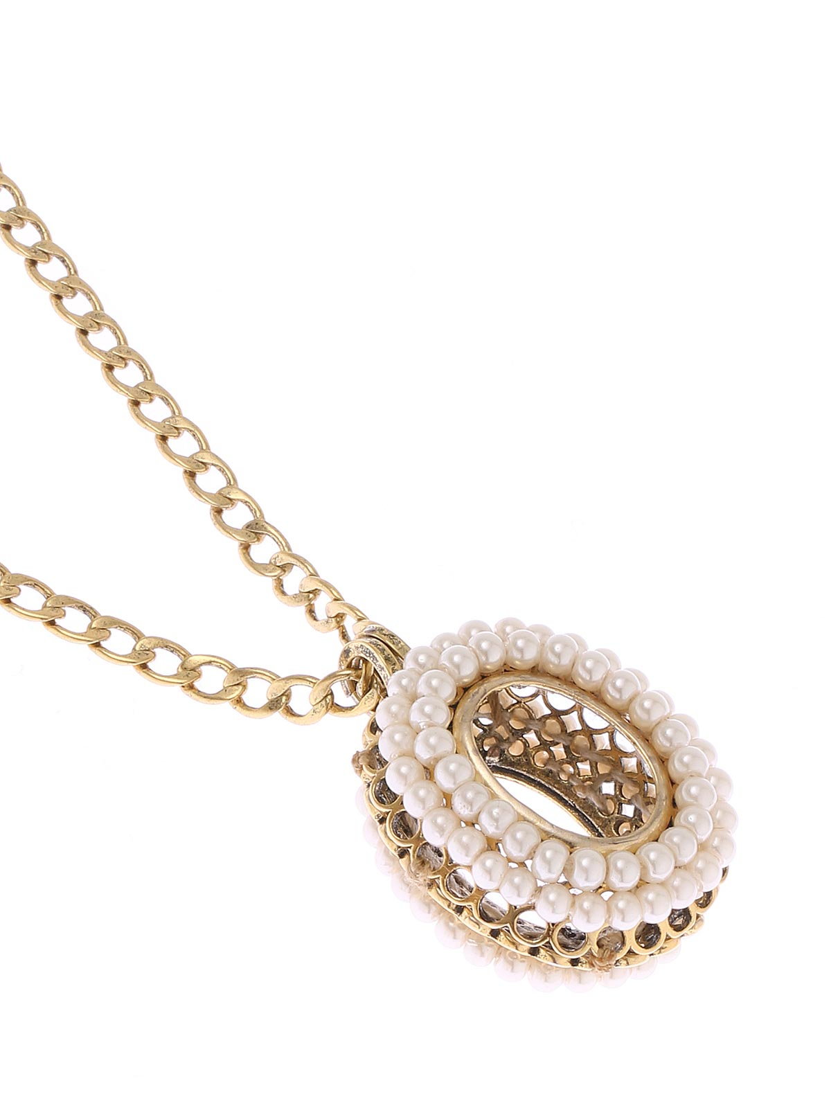 Collana a catena con pendente ovale impreziosito con perle