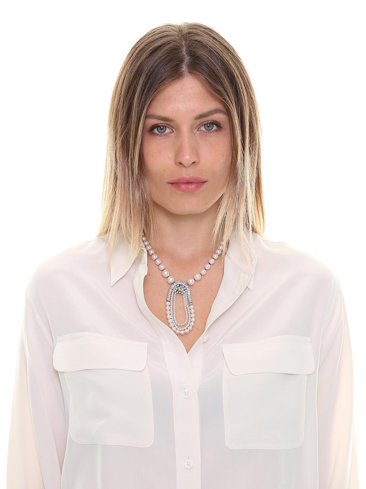 Girocollo di perle con pendente di cristalli e perle