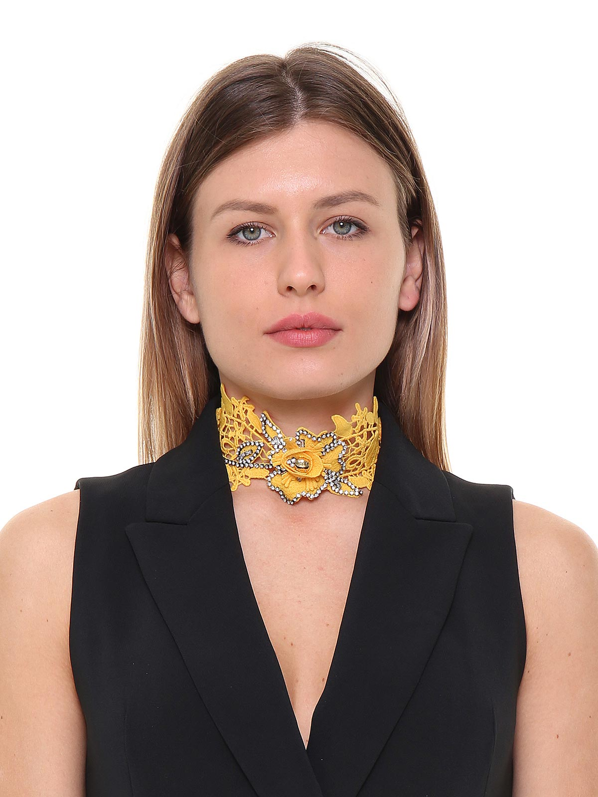 Choker in pizzo decorato con strass