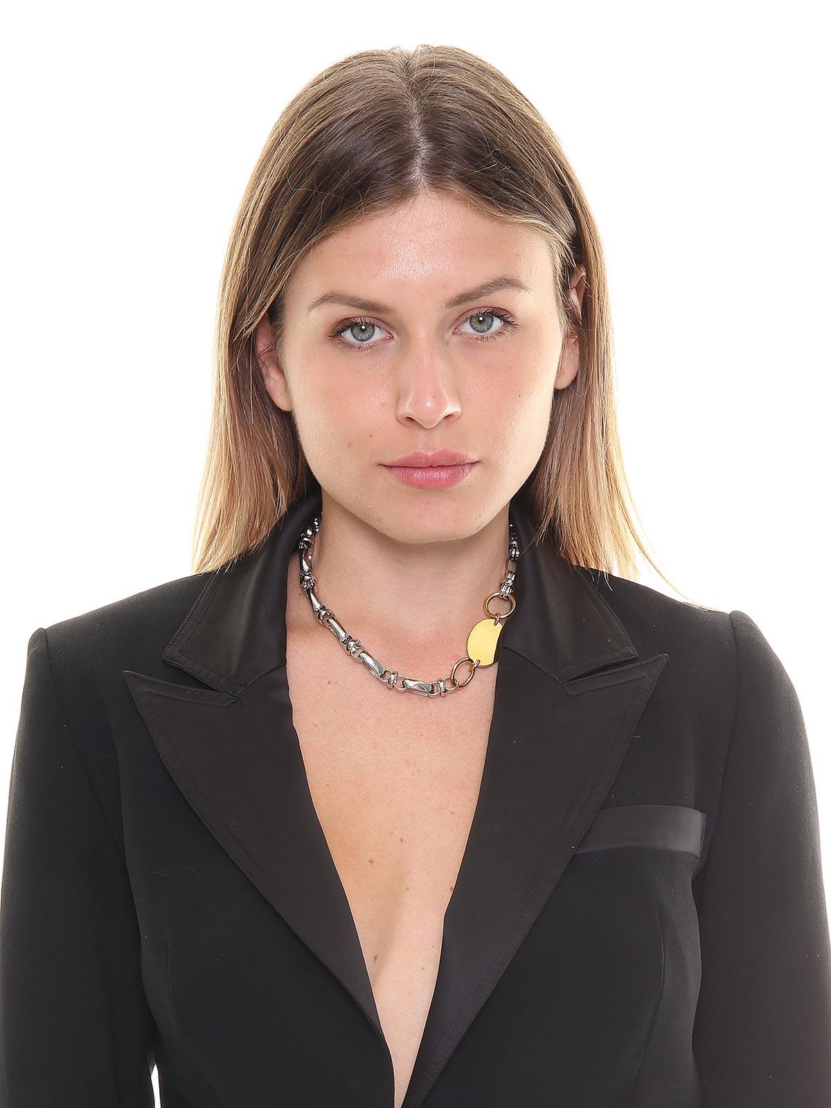 Collana mix di catene in ottone bicolore