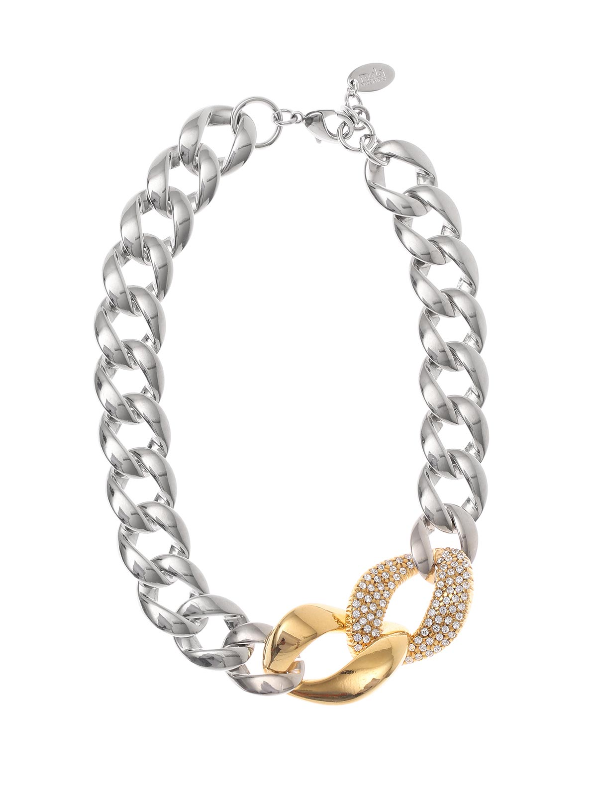 Two-tone brass necklace with jewel chain
