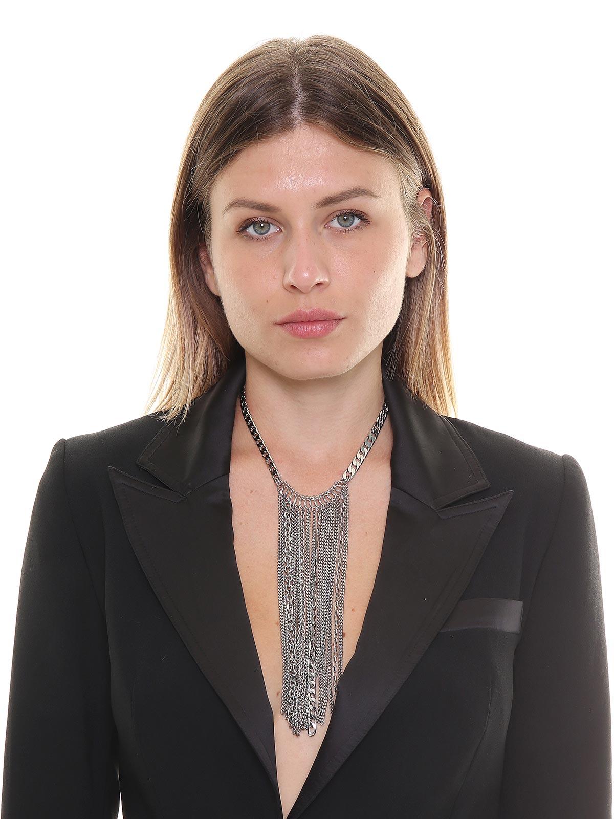 Collana in ottone decorata con catene a cascata
