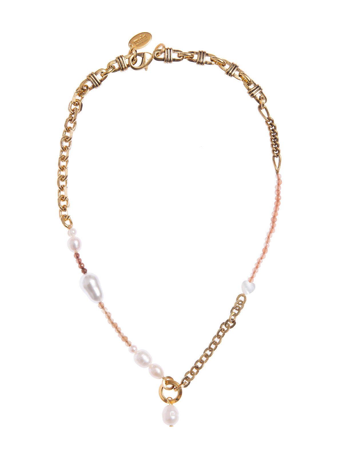 Chain necklace with jades and freshwater pearls