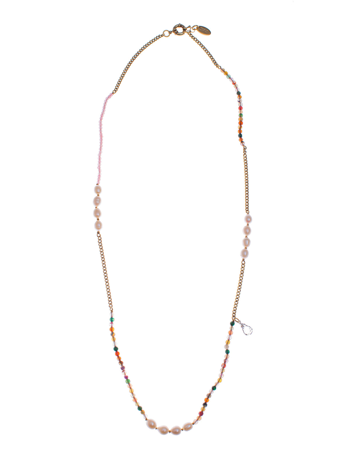 Jade beaded necklace and freshwater pearls