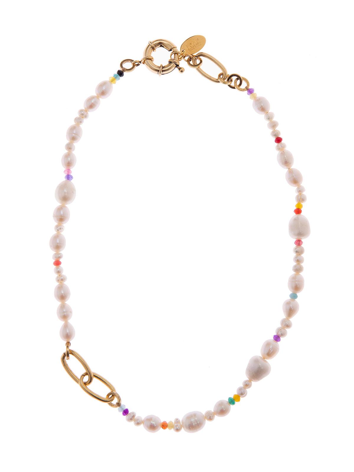 Collana di perle di fiume con perline di giada
