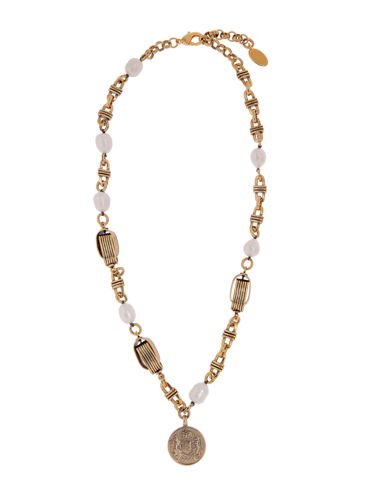 Collana con moneta e perle di fiume