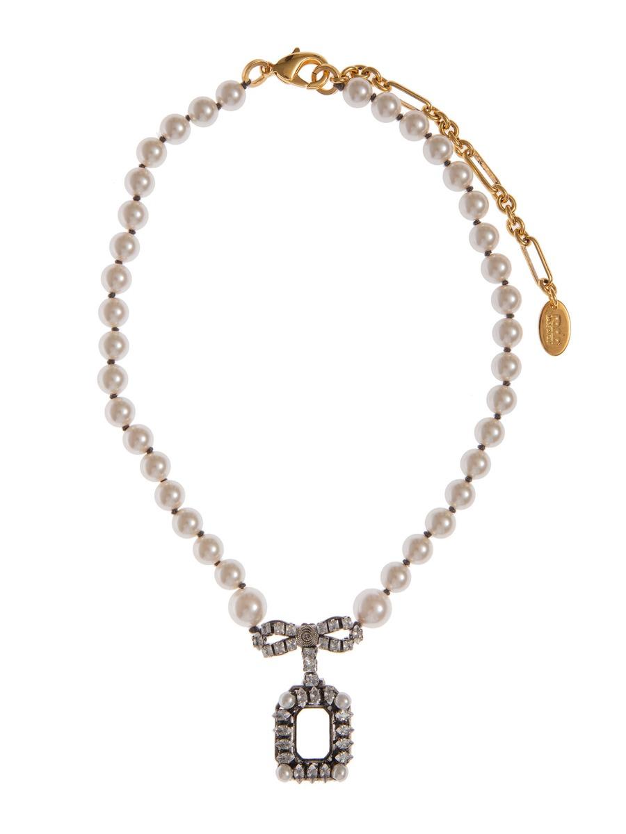 Collana di perle con centrale fiocco gioiello
