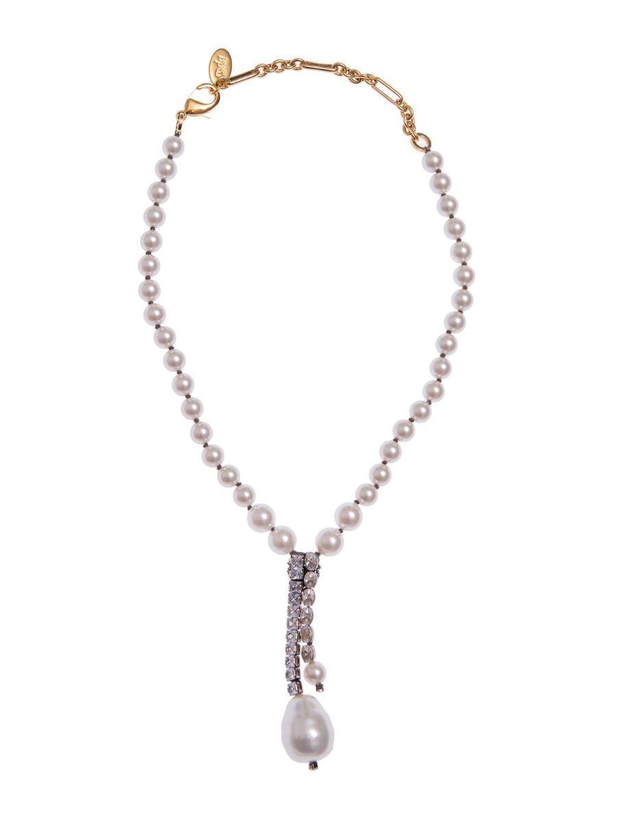 Collana di perle con centrale goccia vetro