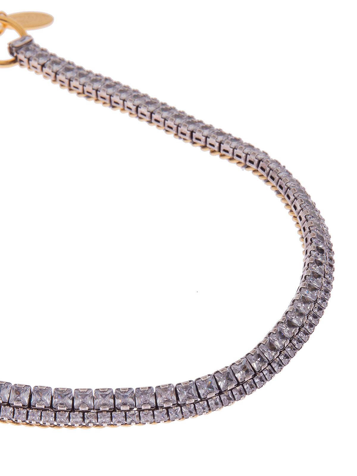 Collana di catena ricamata con pietre cristallo