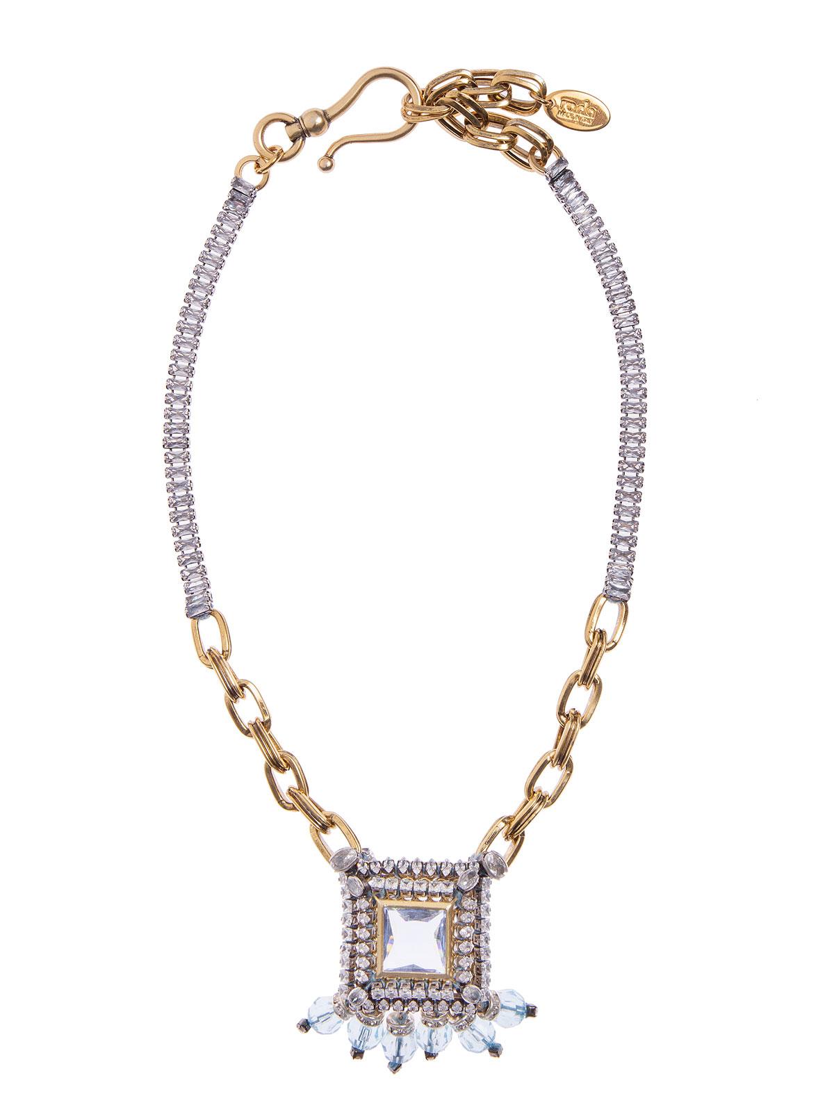 Necklace with jewel charm and plexiglass  beads