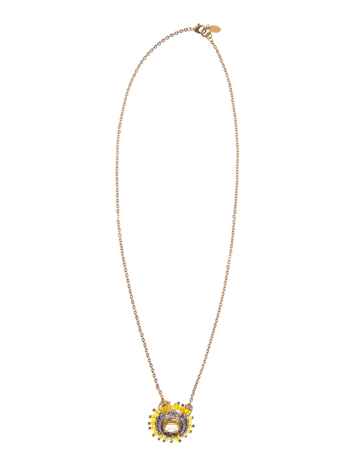 Collana con pendente ovale e perle in plexiglass