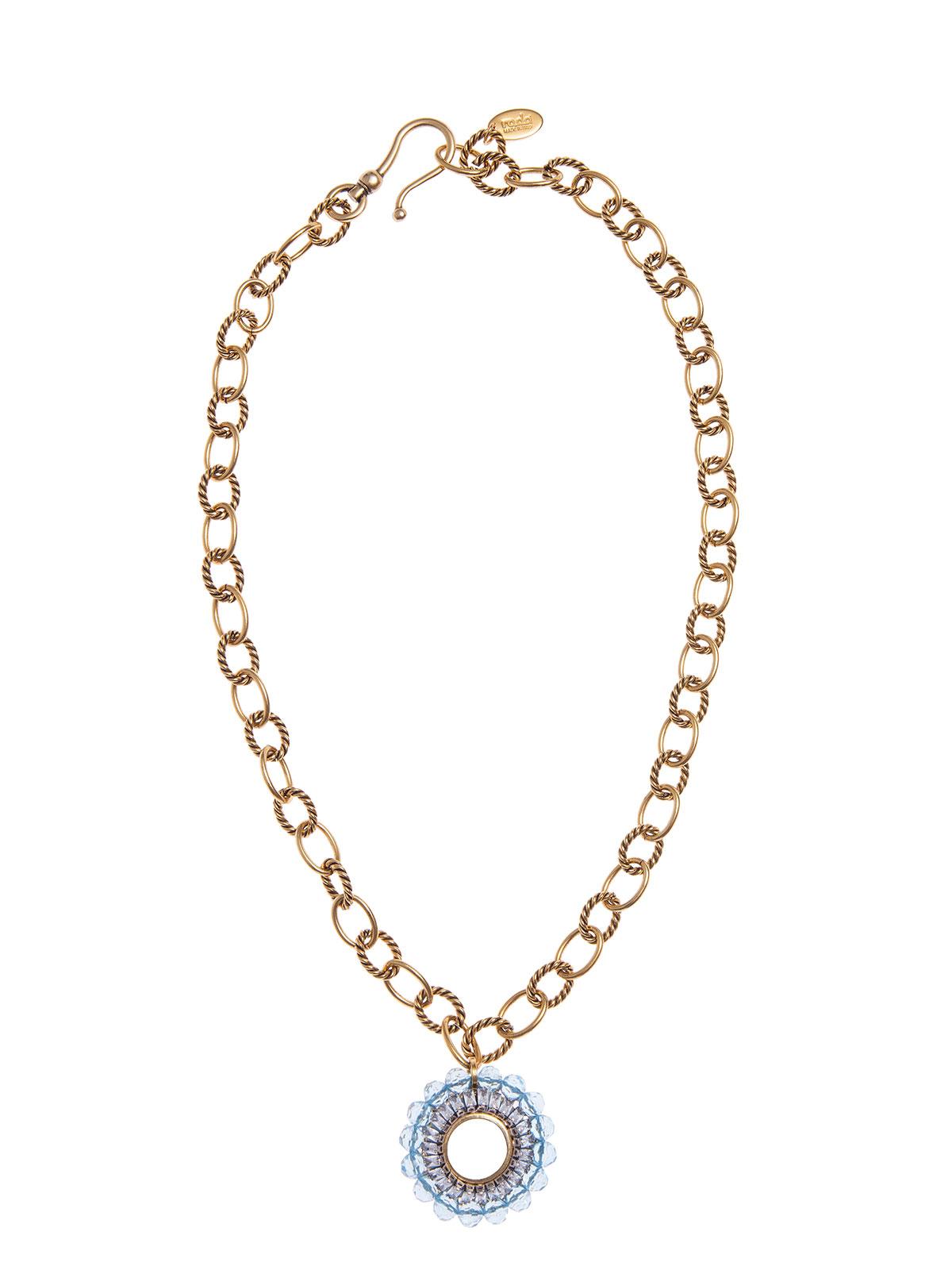 Collana con pendente tondo e perle plexiglass