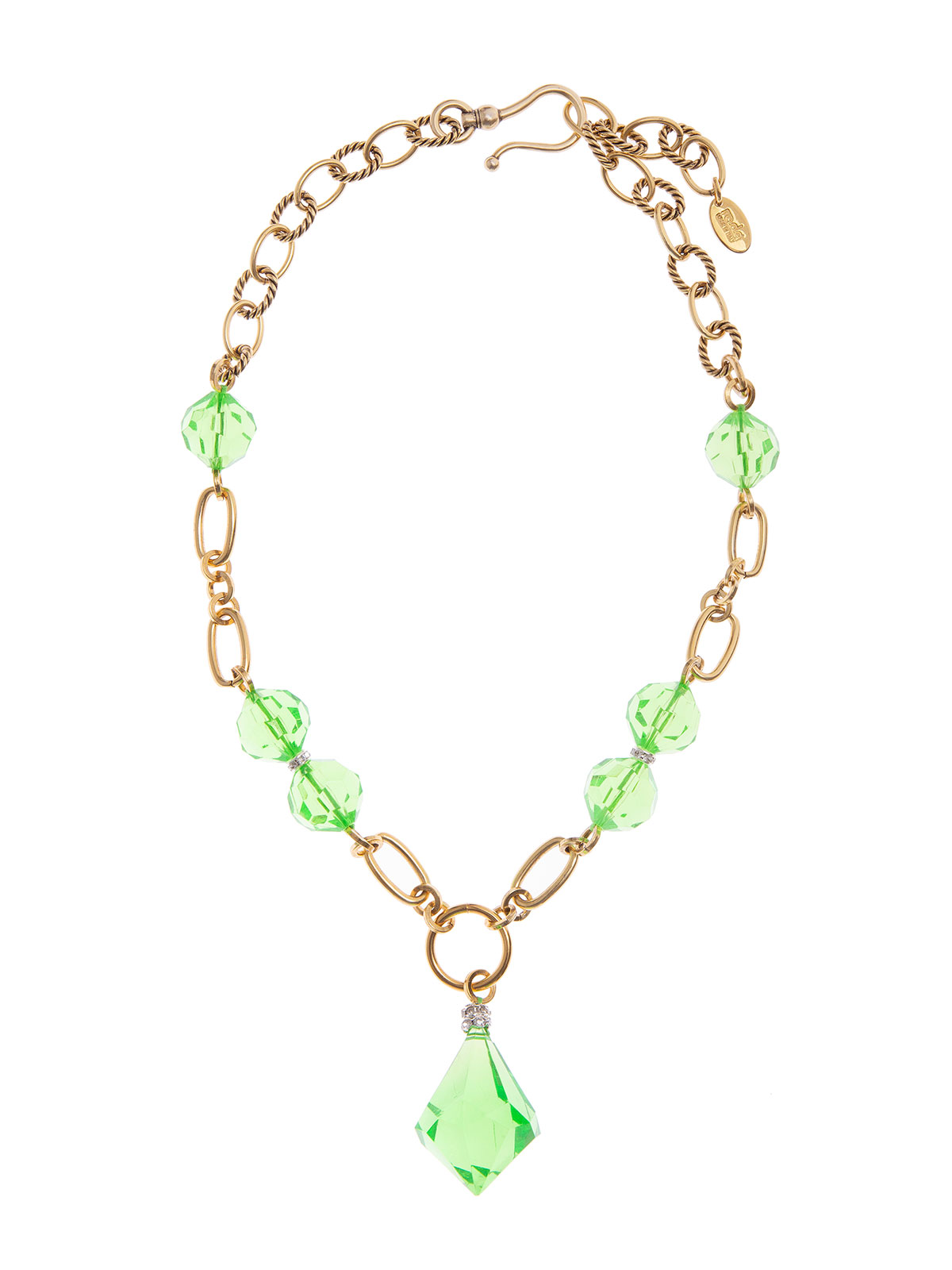 Chain necklace with plexiglass  beads and drop
