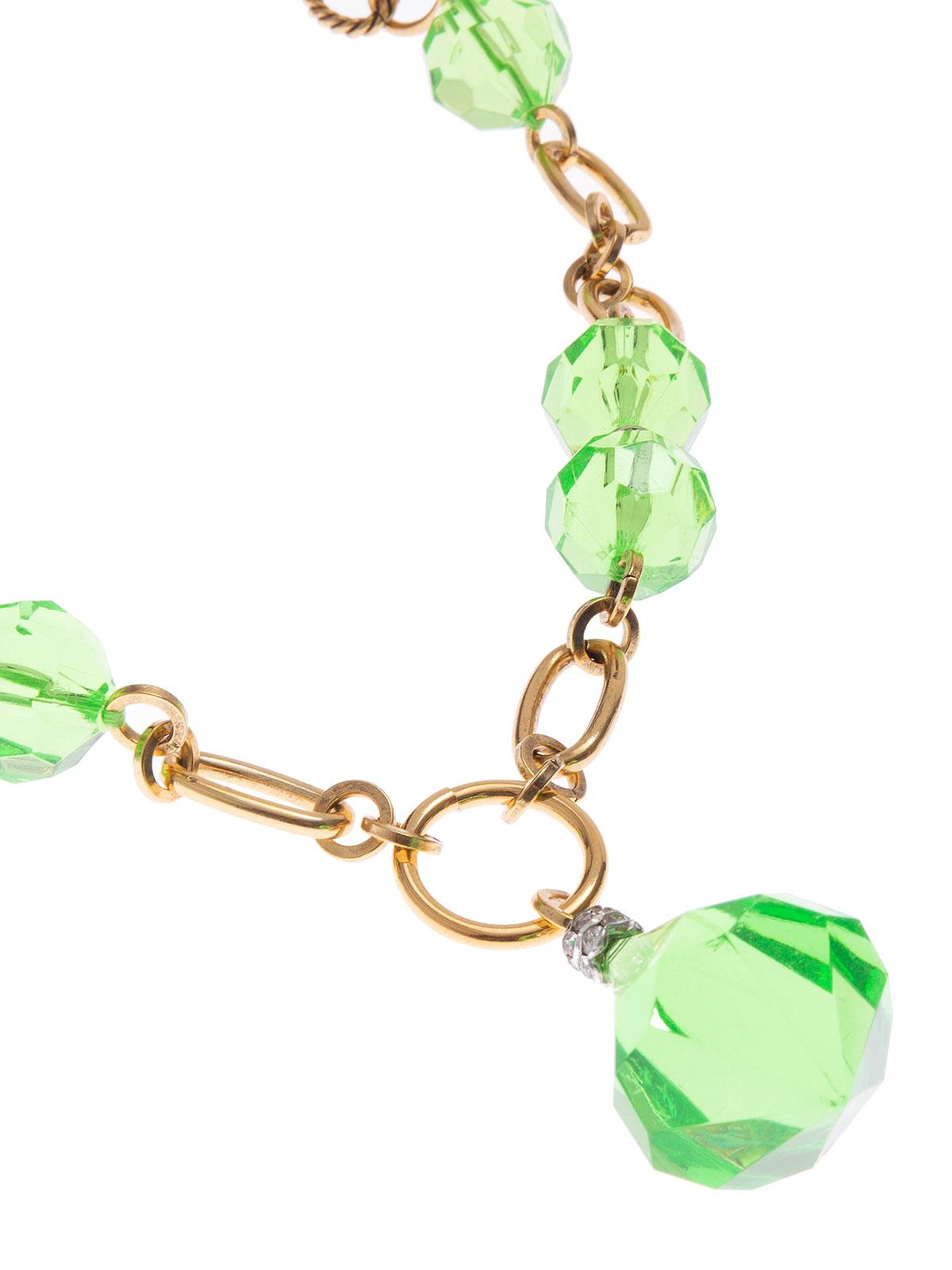 Collana catena con perle e gocce in plexiglass