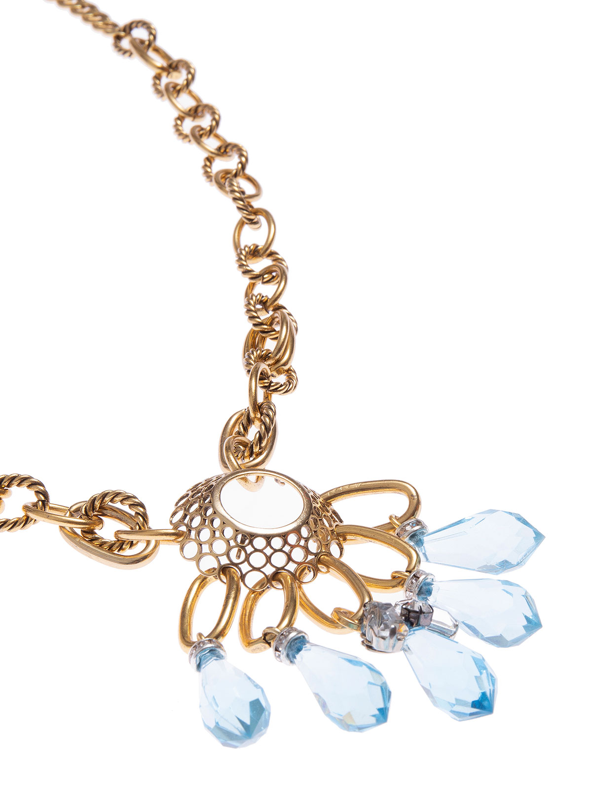 Necklace with round charm and plexiglass  beads