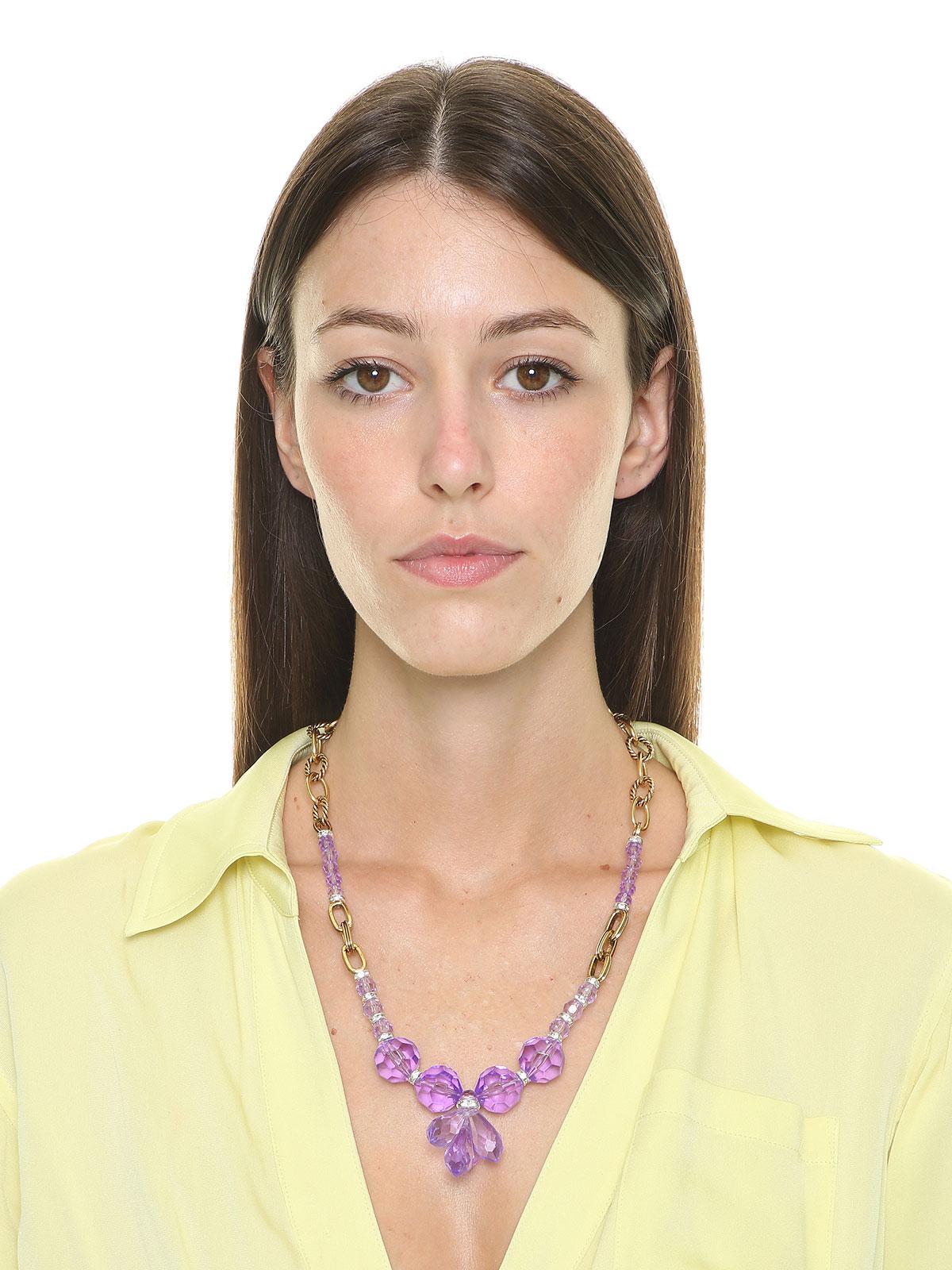 Collana con tralcio di gocce e perle in plexiglass