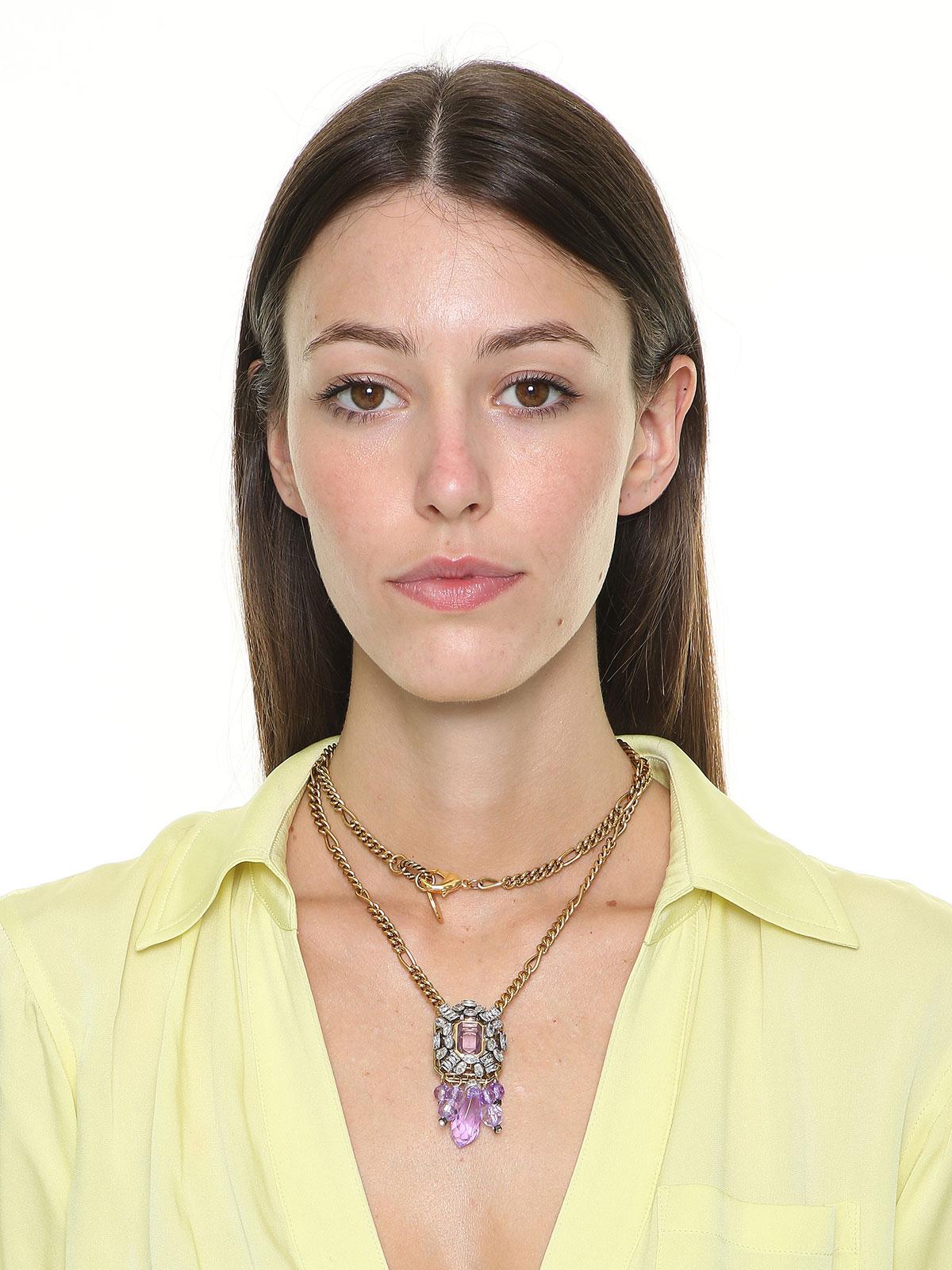 Collana con centrale gioiello e gocce in plexiglass