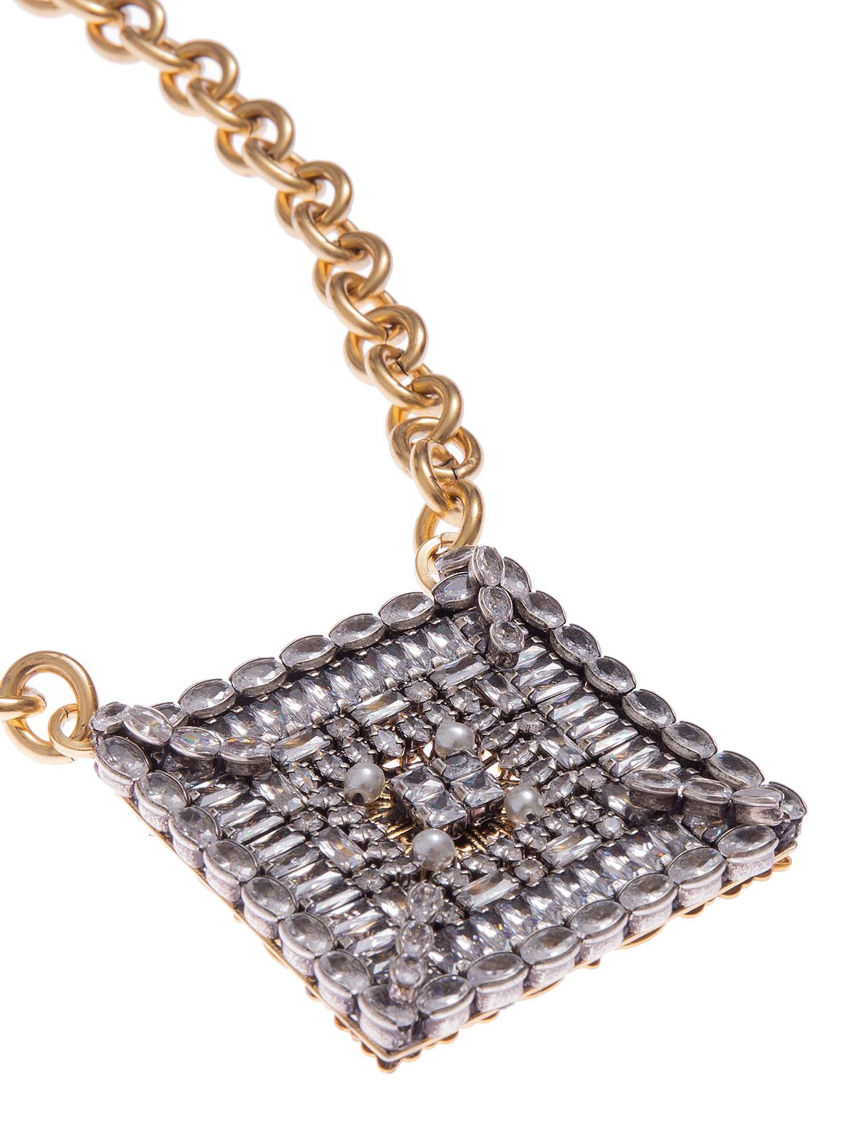Collana catena con quadrato ricamato con pietre
