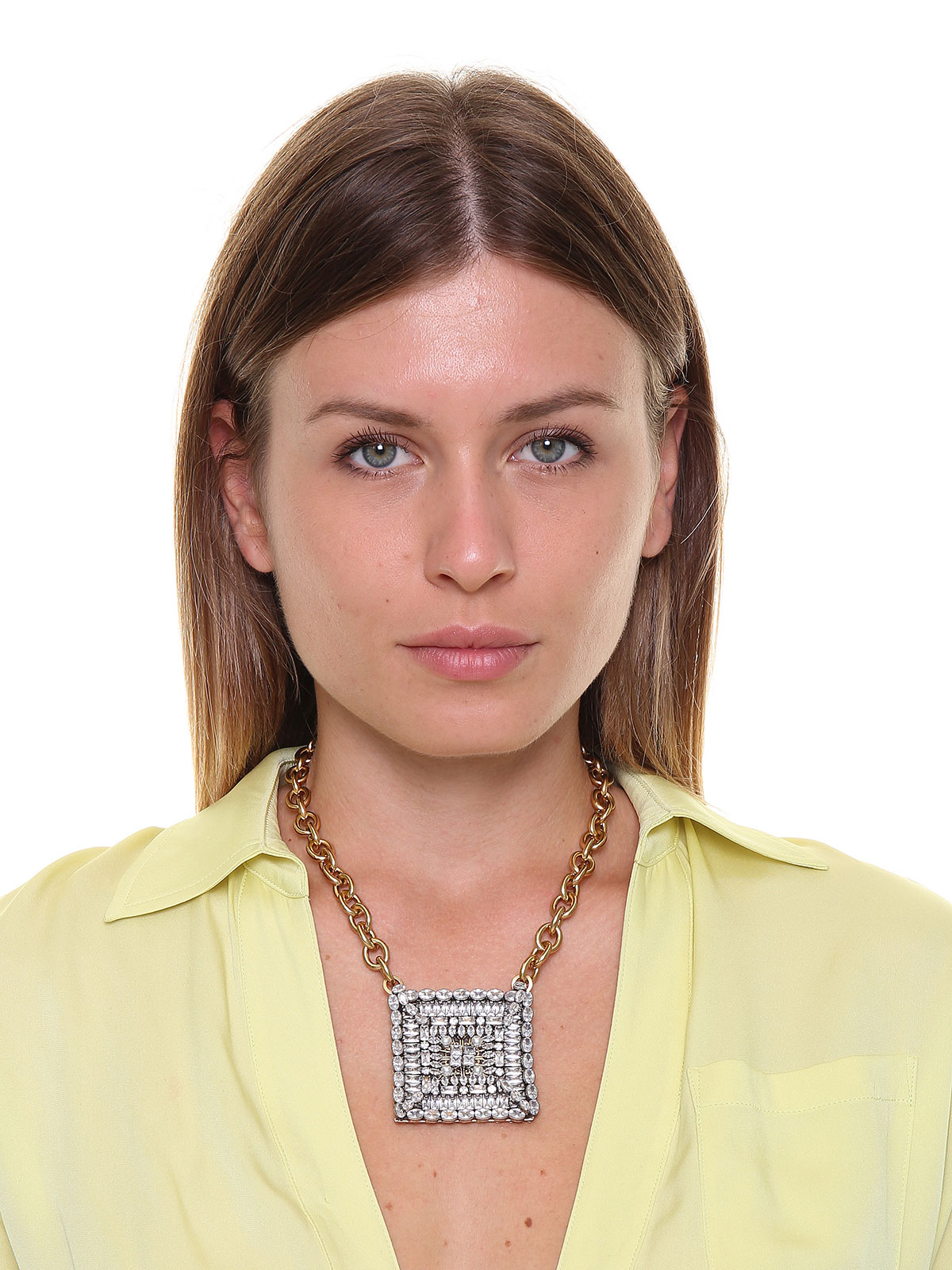 Chain necklace with central square decoration