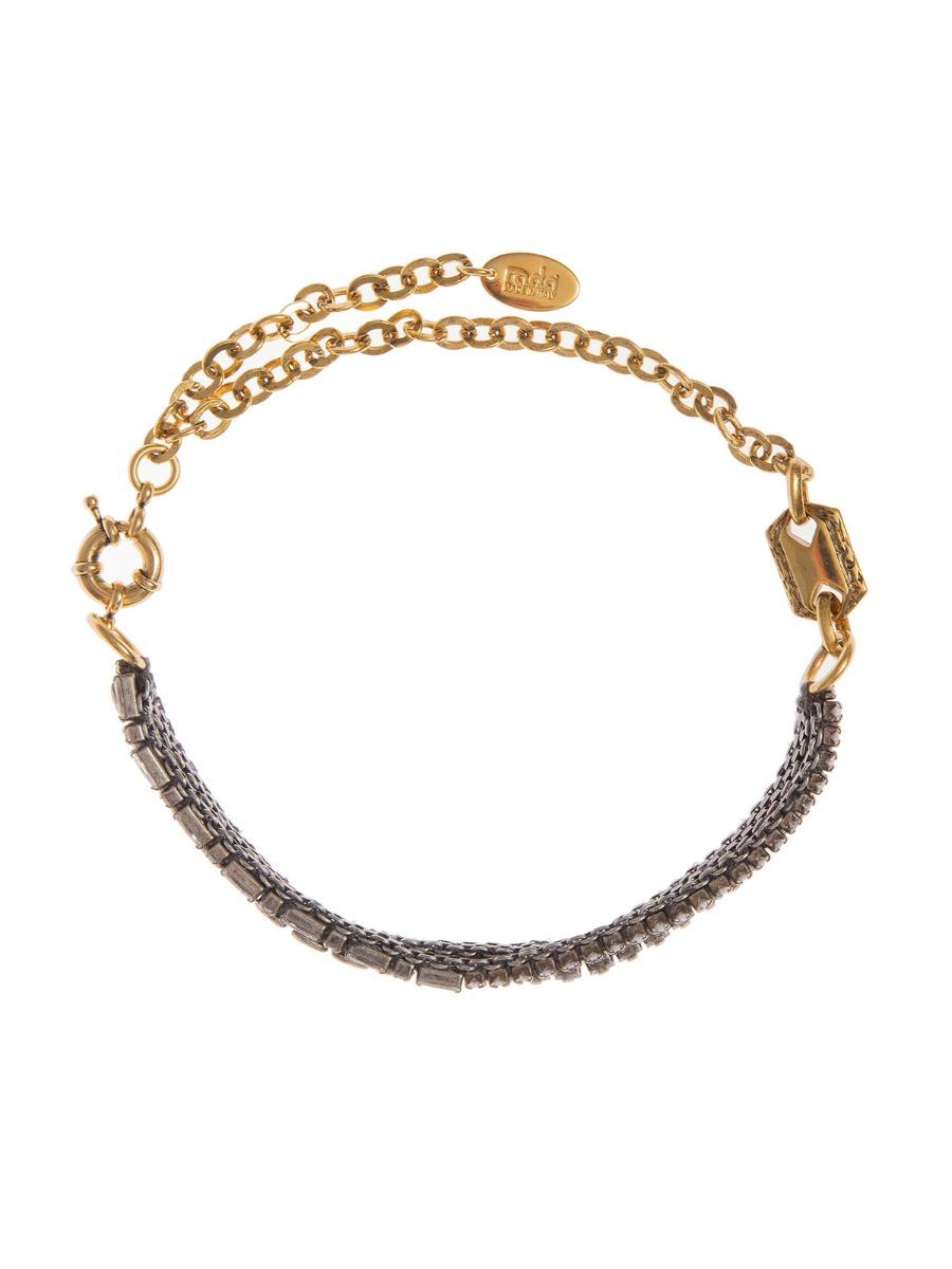 Collana catena ricamata con pietre cristallo