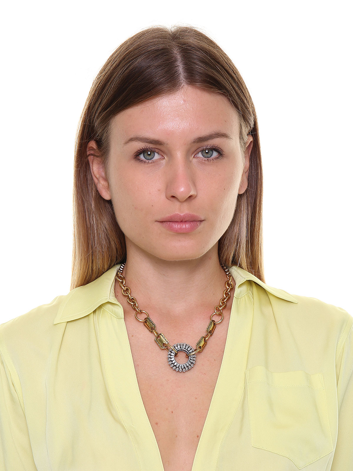 Chain necklace with central jewel decoration