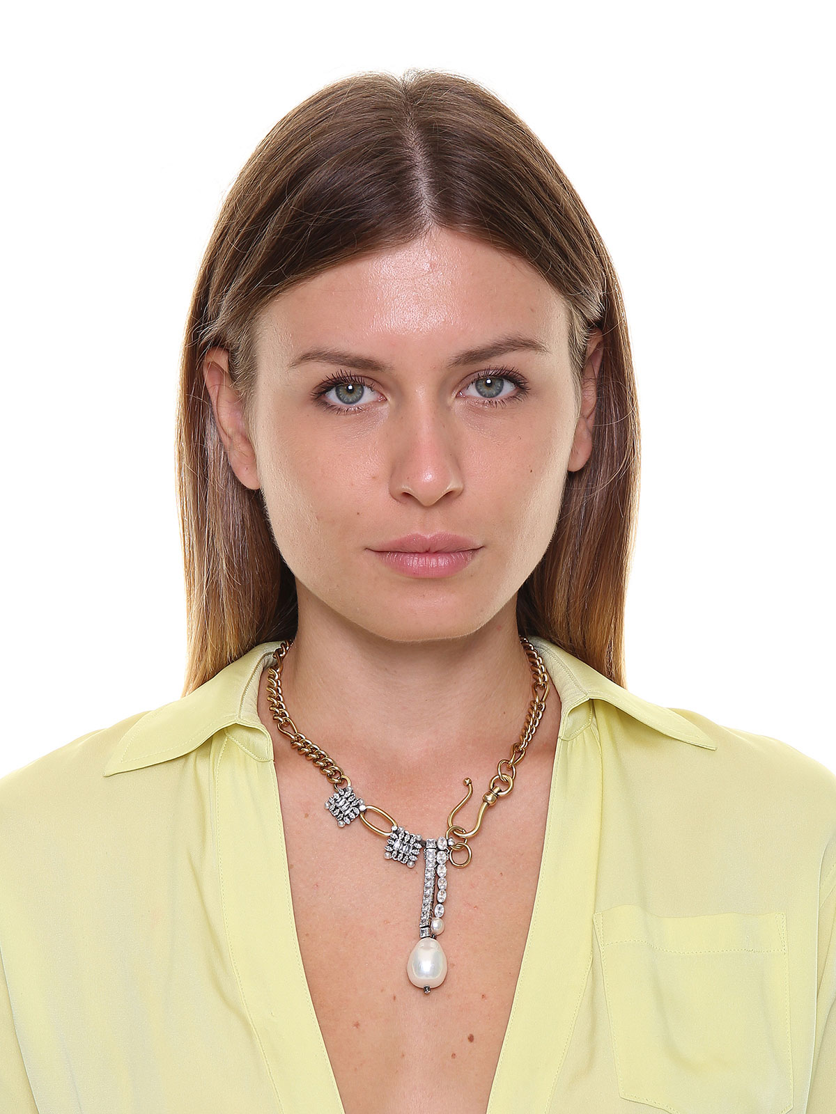 Chain necklace with jewel charms