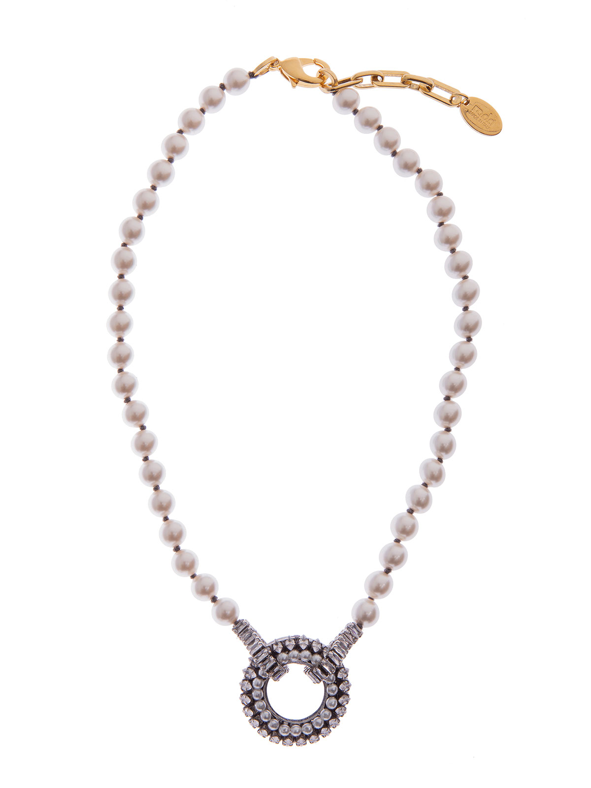 Pearl  necklace with central jewel decoration