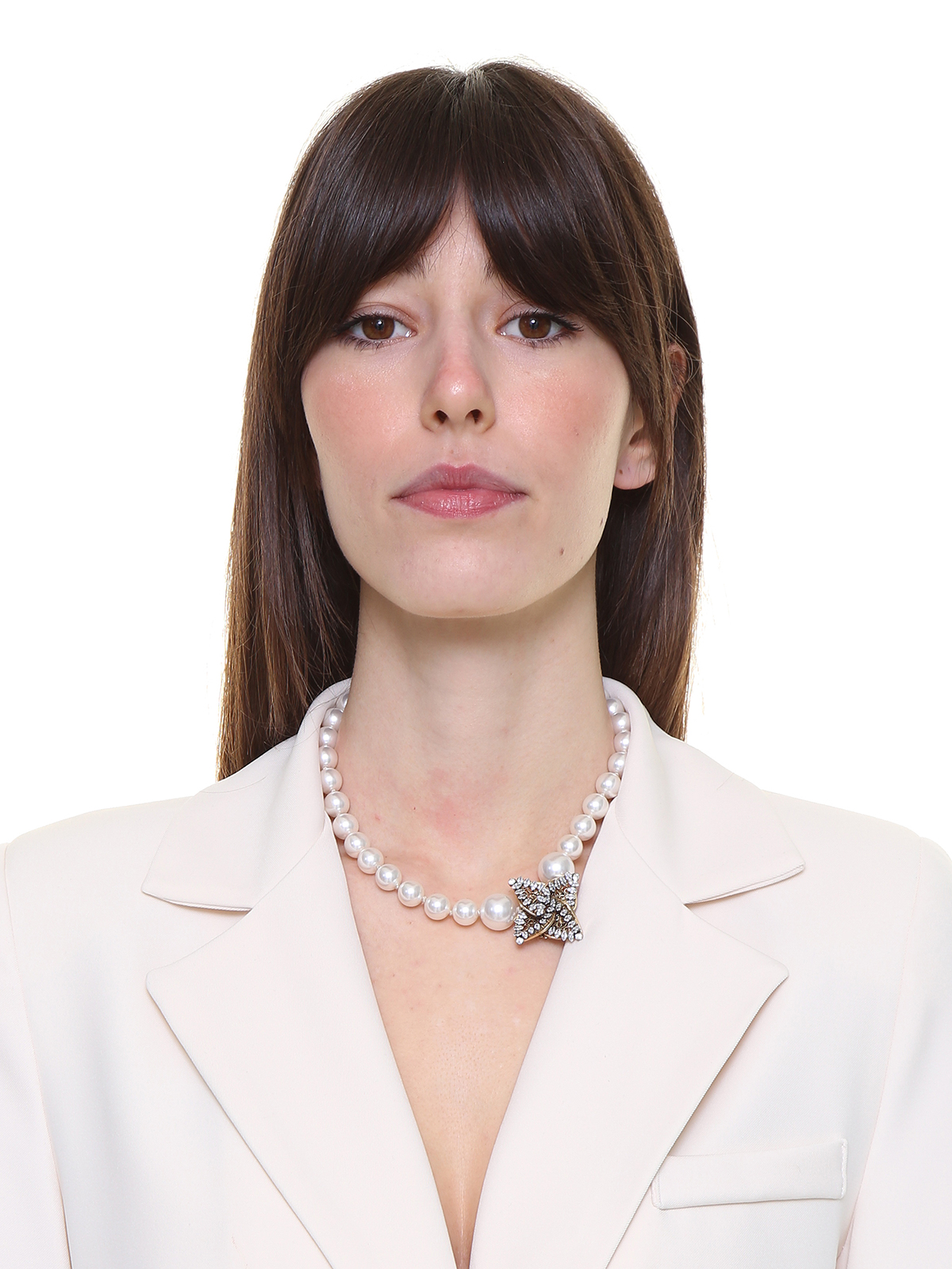 Pearl necklace with  jewel helix-shaped decoration embroidered with stones