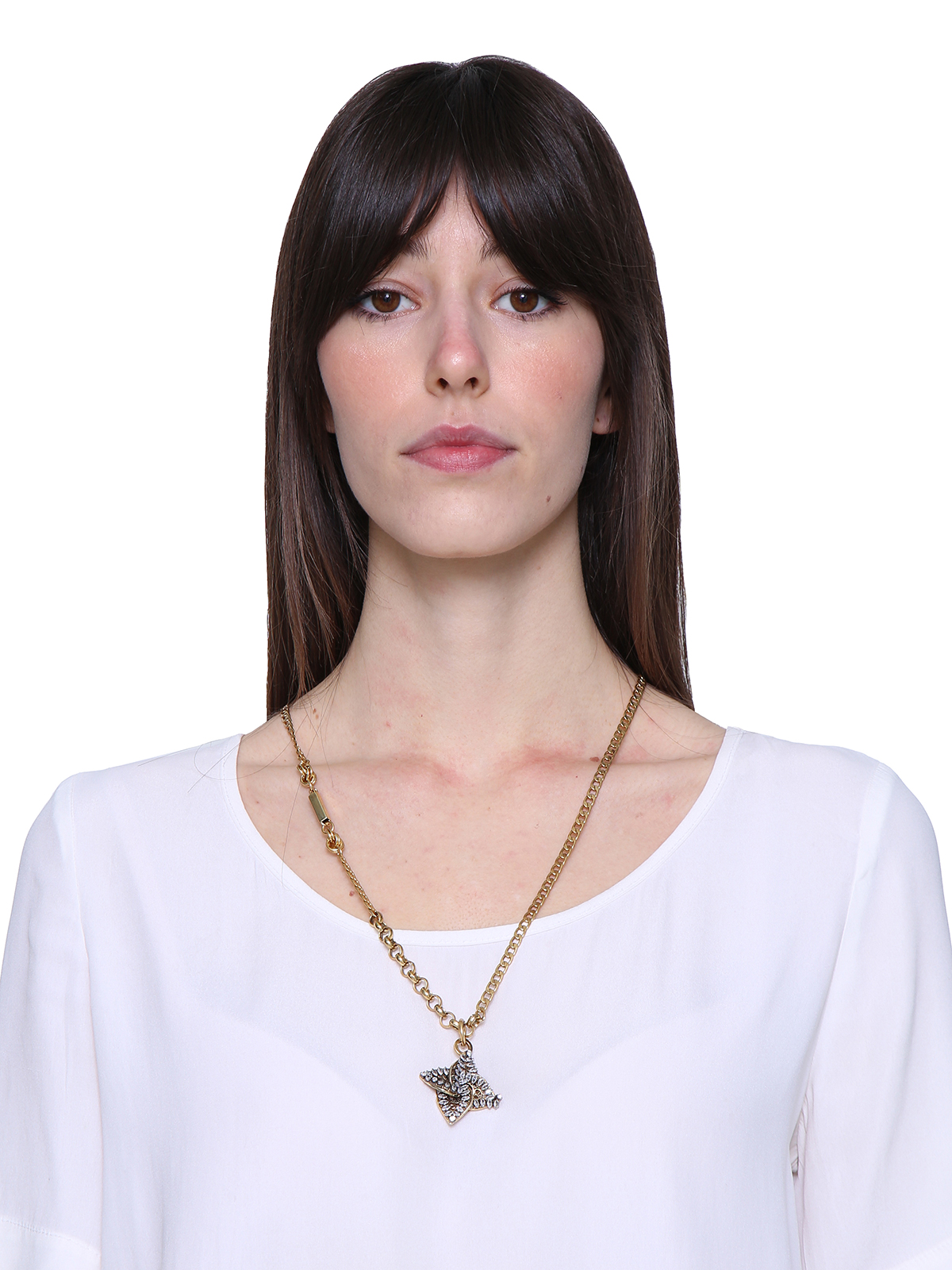 Mixed chain necklace with  jewel helix-shaped charm embroidered with stones