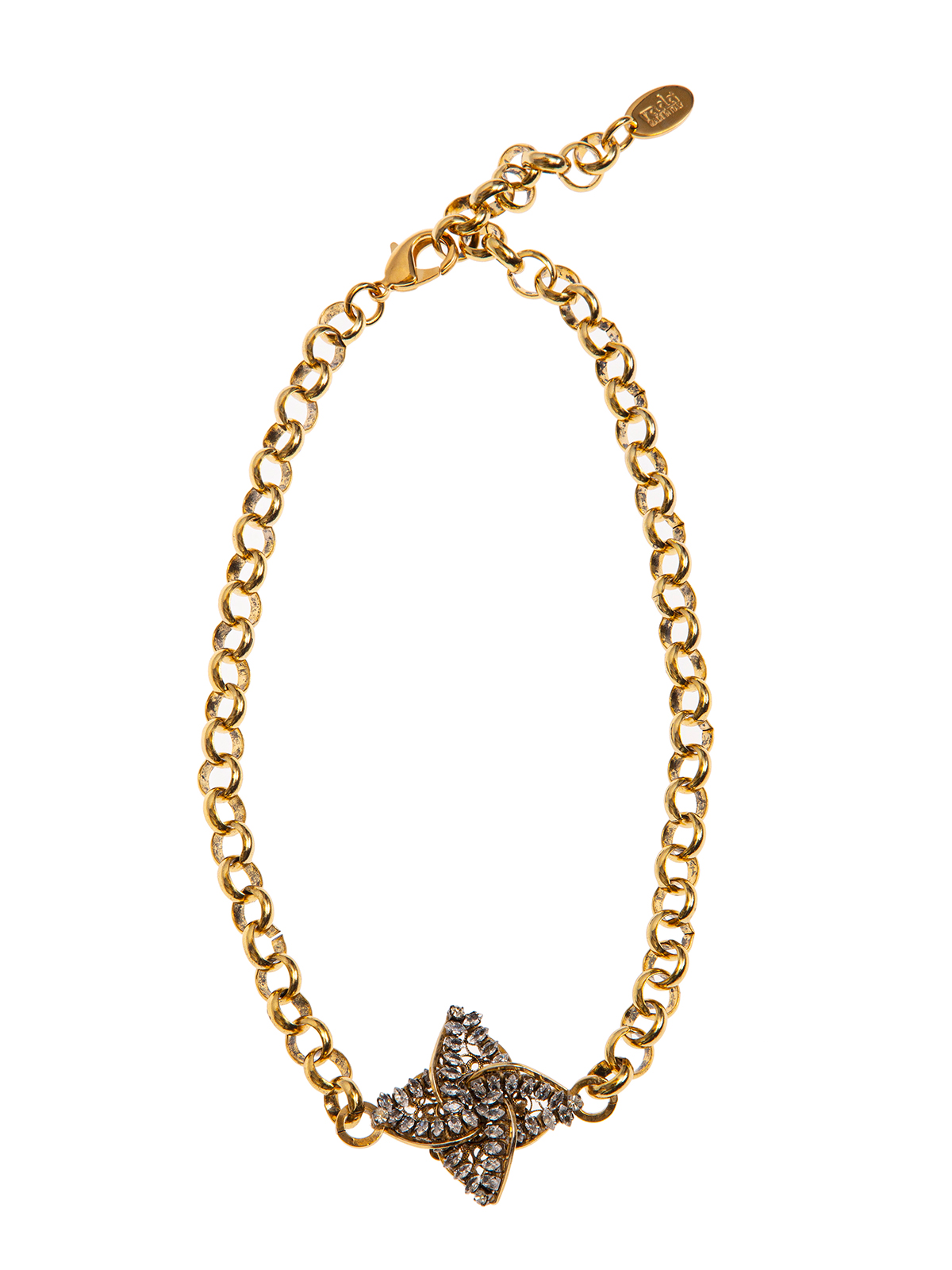 Chain necklace with  jewel helix-shaped central embroidered with stones