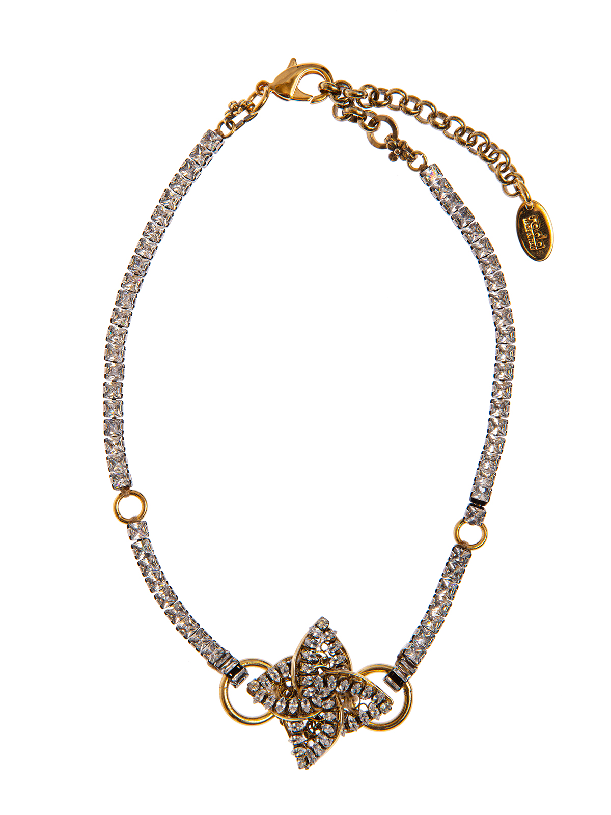 Crystal choker with jewel helix-shaped decoration embroidered with stones