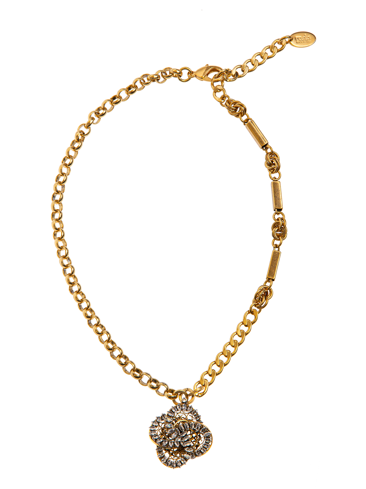 Mixed chain necklace with  jewel pinwheel charm embroidered with stones