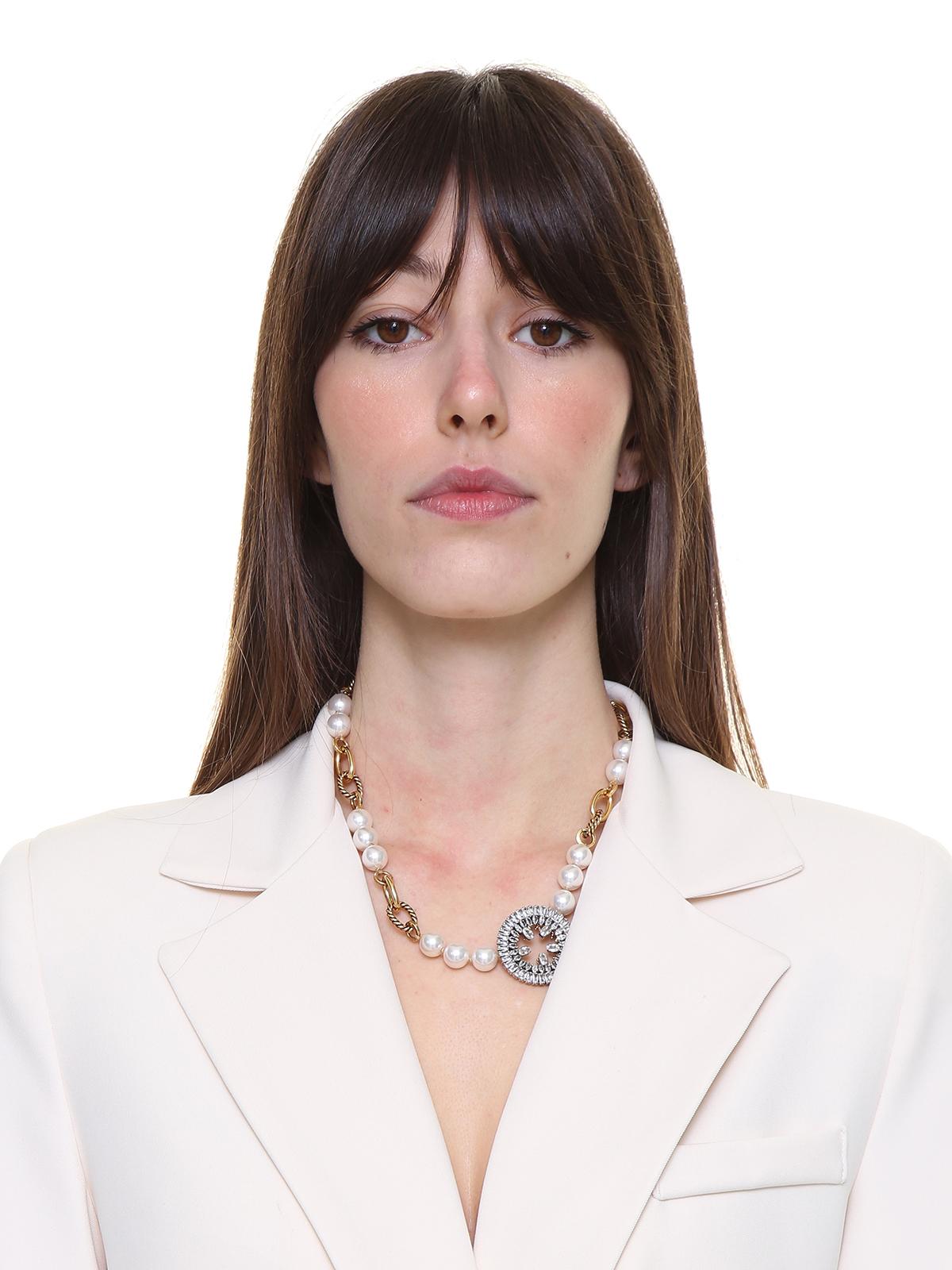 Collana di perle e catena con cerchio  gioiello ricamato con pietre cristallo