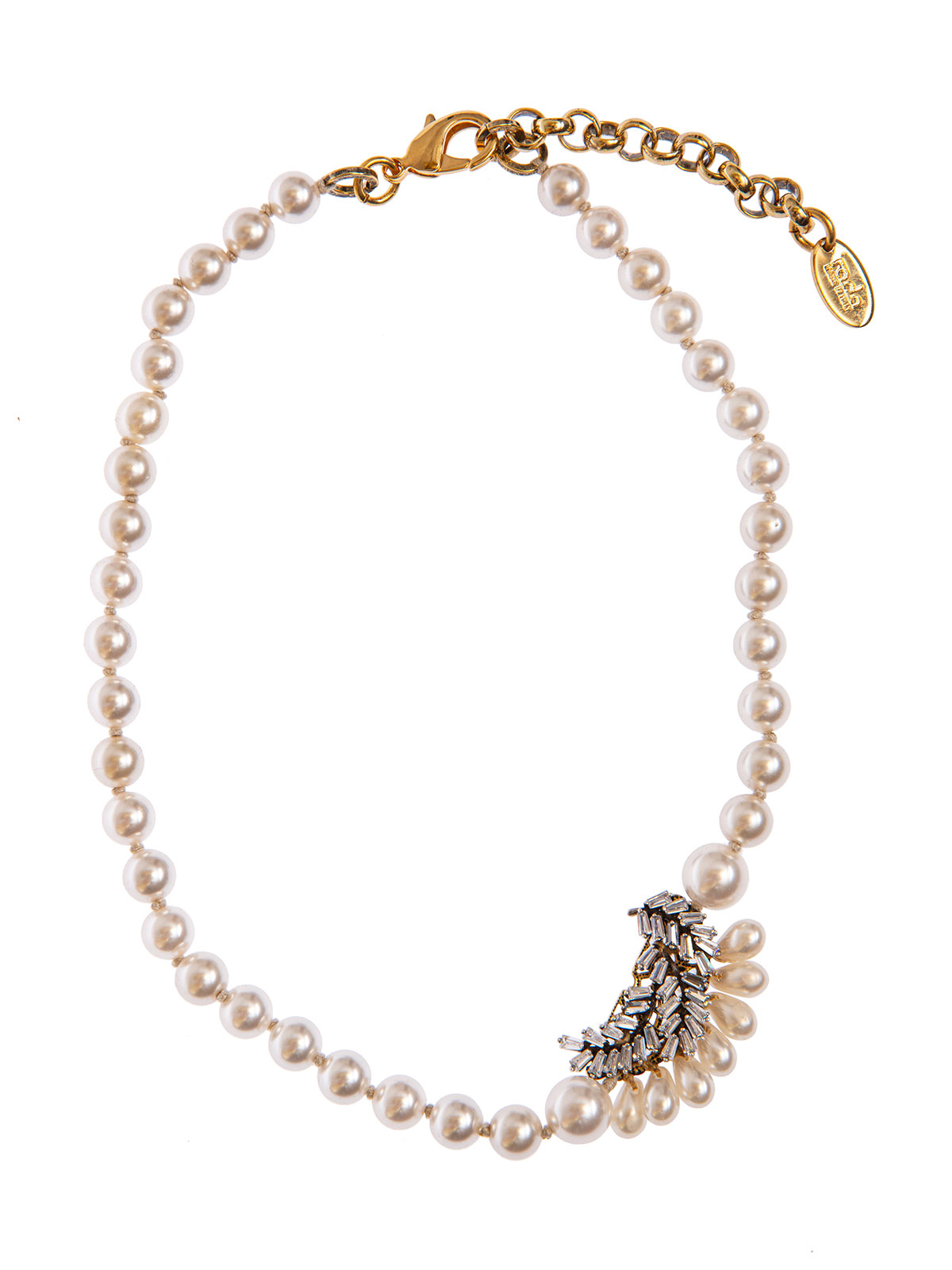 Pearl necklace with crystal leaves and drops