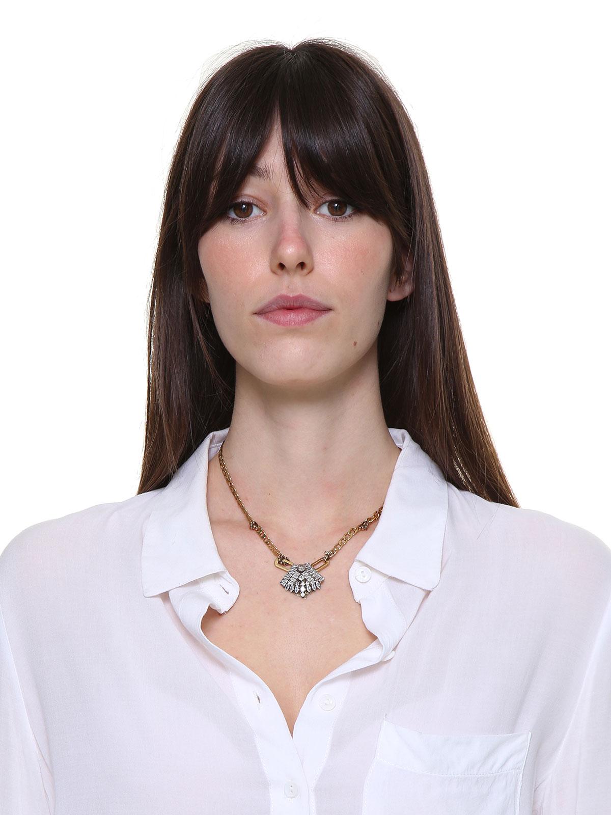 Collana di catena con decorazione centrale ventaglio gioiello