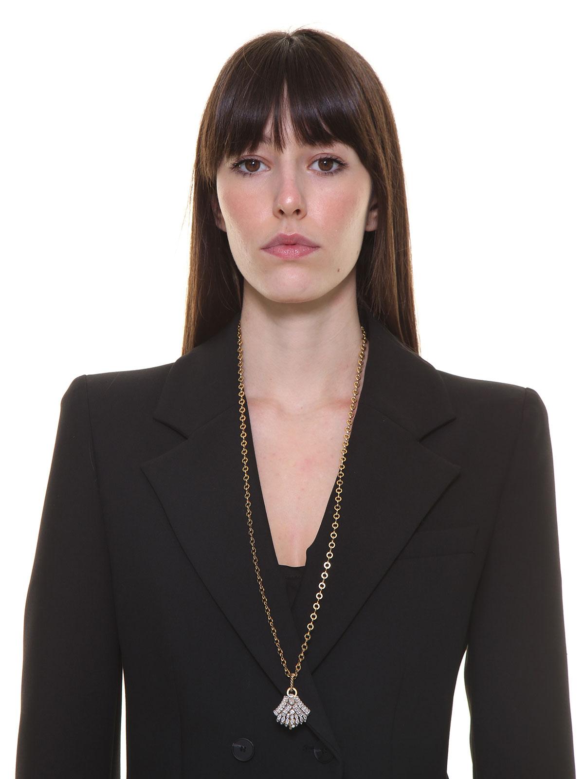 Collana lunga di catena con pendente ventaglio gioiello