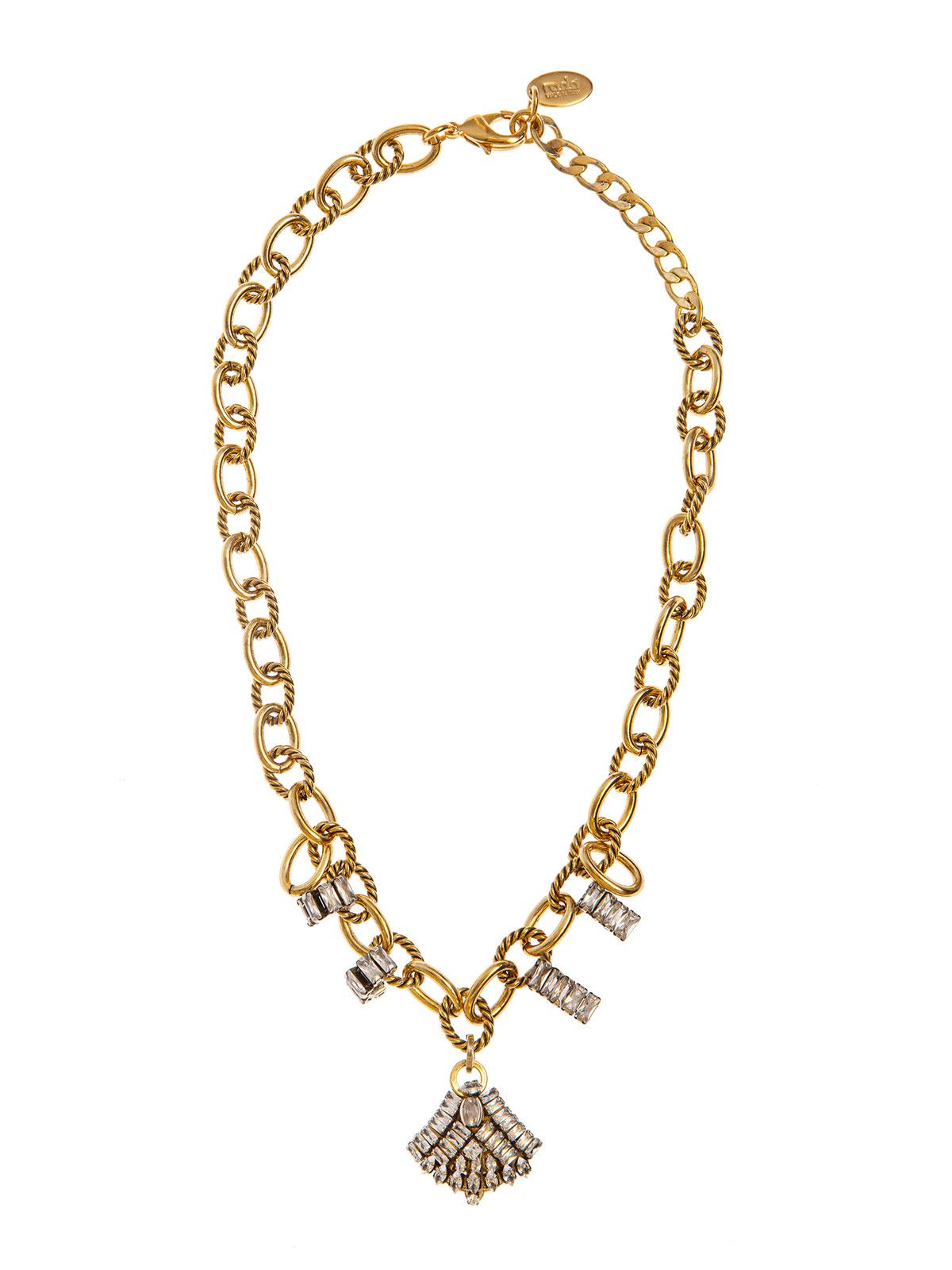 Collana di catena con dettagli di baguettes e pendente ventaglio gioiello